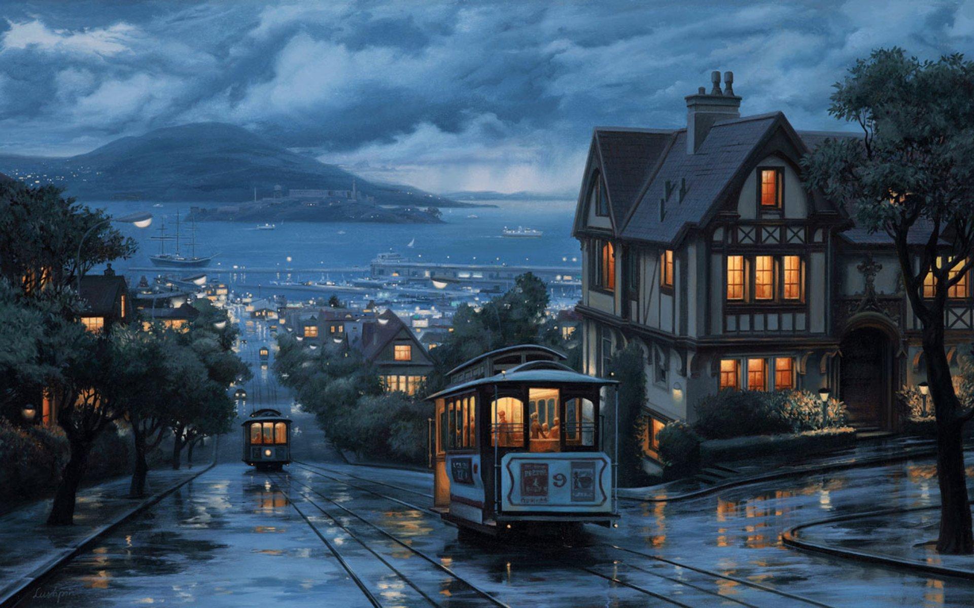 Обои трамвай, люди, улица, дома. Города foto 14