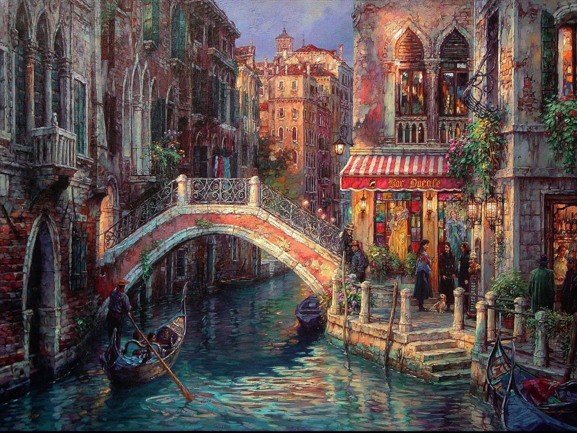 Обои канал, лодки, венеция, мосты, дома, улицы. Города foto 11