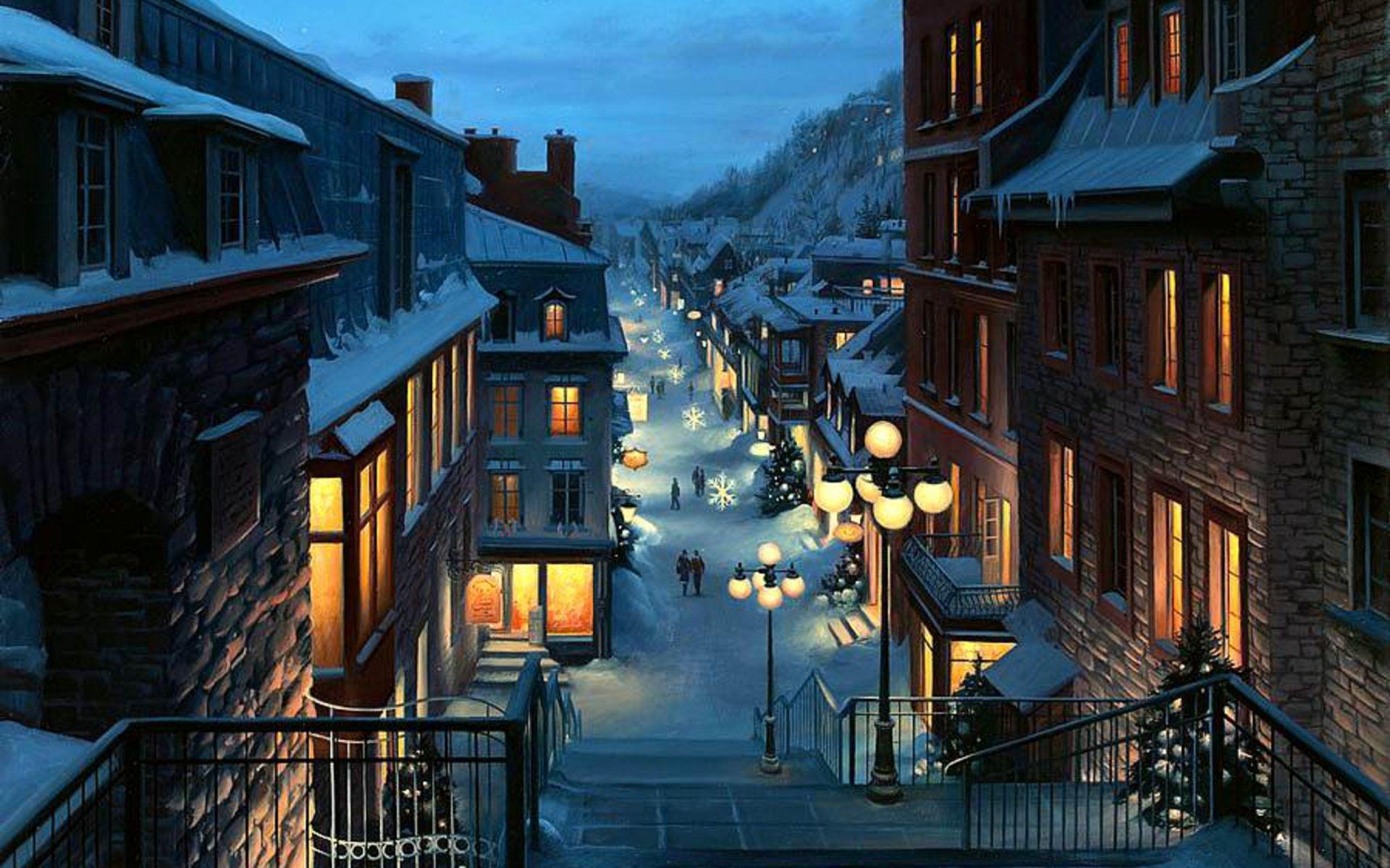 картинки зимний город красивые дома можно найти