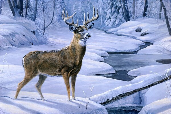 Laura Mark Finberg November snow painting deer animal creek forest winter snow олень живопись ручей лес зима снег