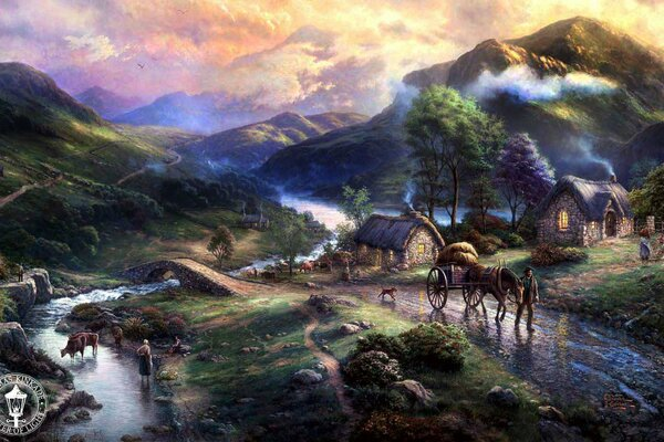 Emeraldvalley Thomas Kinkade paintig art mountains animals bridge dog horse houses lake nature river valley Томас Кинкейд живопись деревня дома мост река озеро горы природа животные