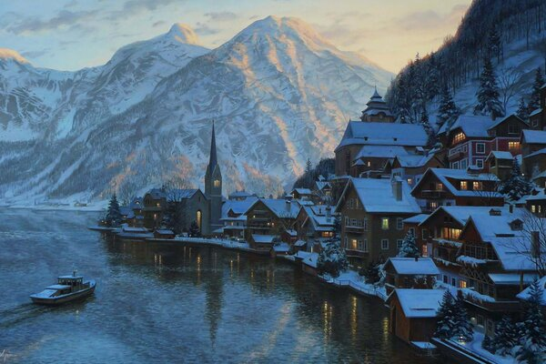 Eugeny Lushpin Hallstatt painting Alps Austria Lushpin town village lake mountain mountains evening Salzburg Hallstätter See lake Hallstatt houses chapel boat sunset евгений лушпин Лушпин живопись пей