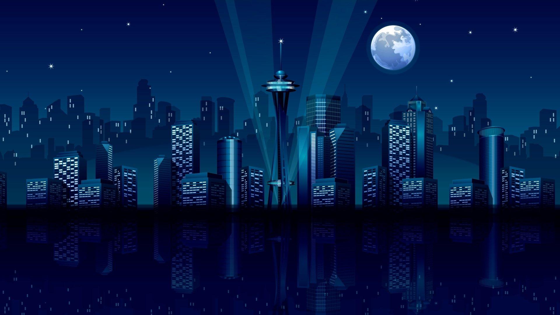 Ночной город векторная картинка