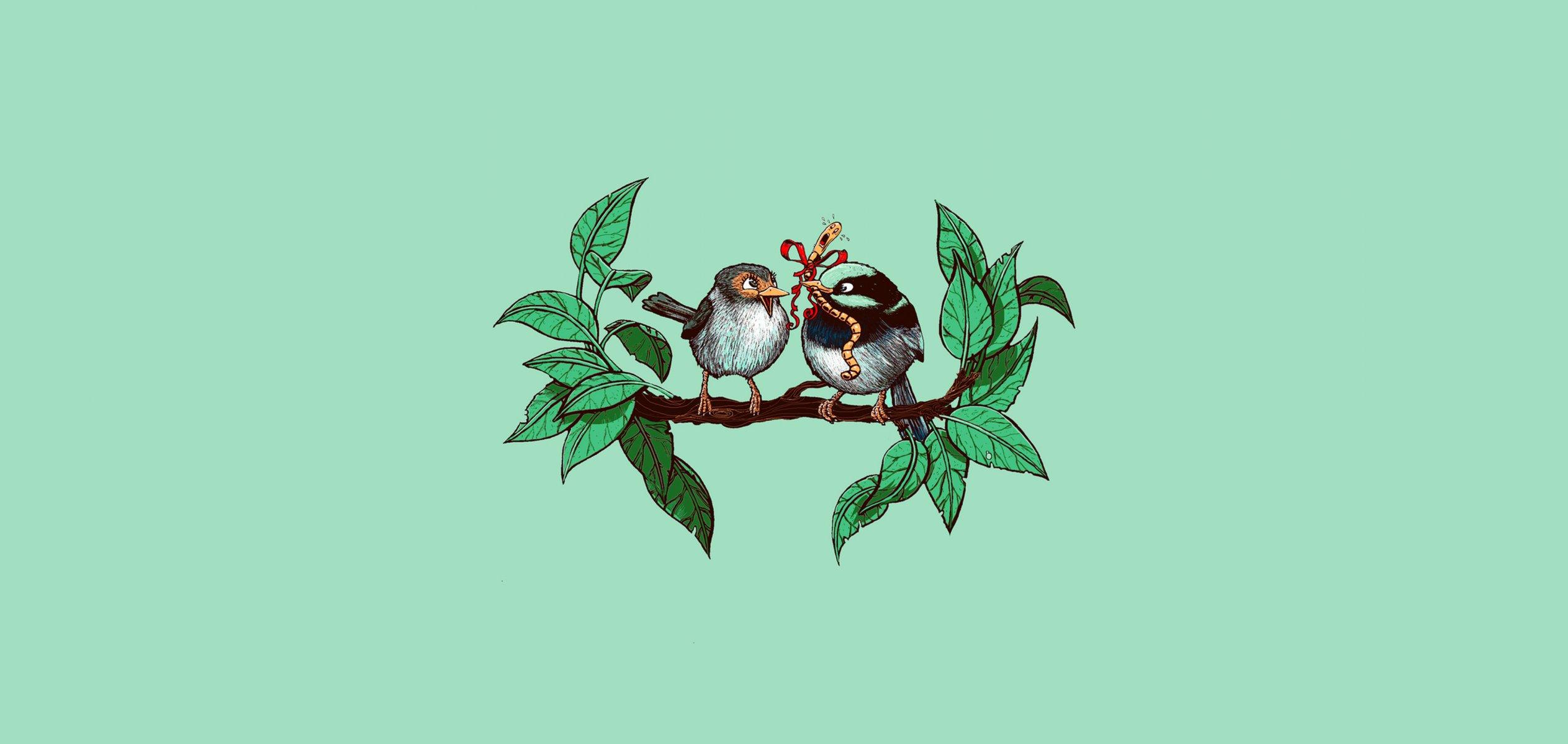 обои для рабочего стола птицы рисованные № 1489906 без смс