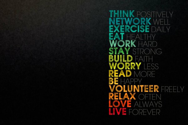 СЛОВА ТЕКСТ ОБОИ THINK NETWORK EXERCISE EAT WORK STAY BUILD WORRY READ BE VOLUNTEER RELAX LOVE LIVE