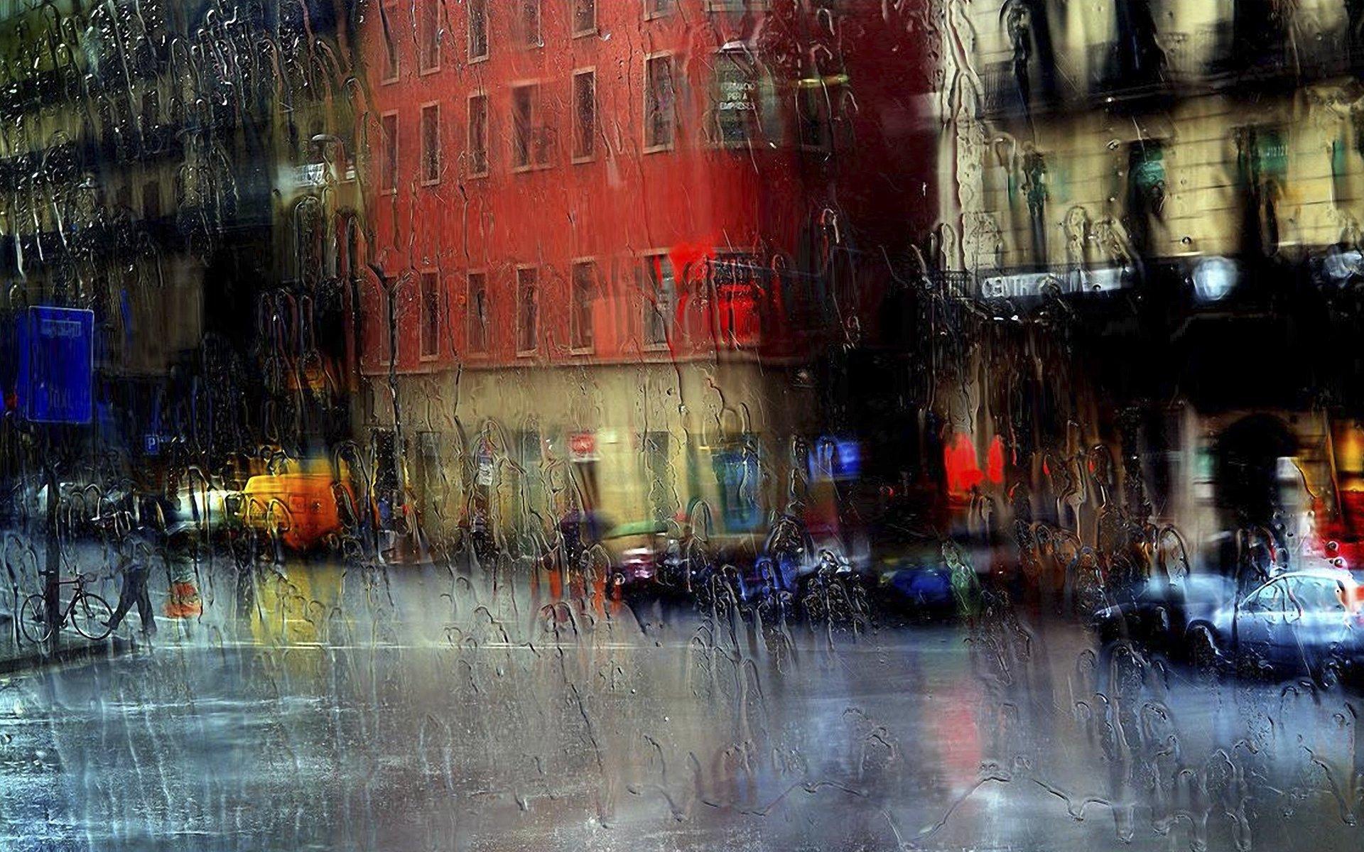Дождь на городской олее загрузить