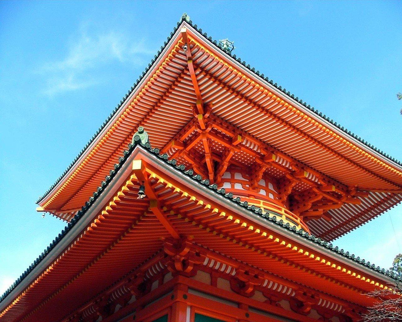 японские крыши фото ехал освещённому