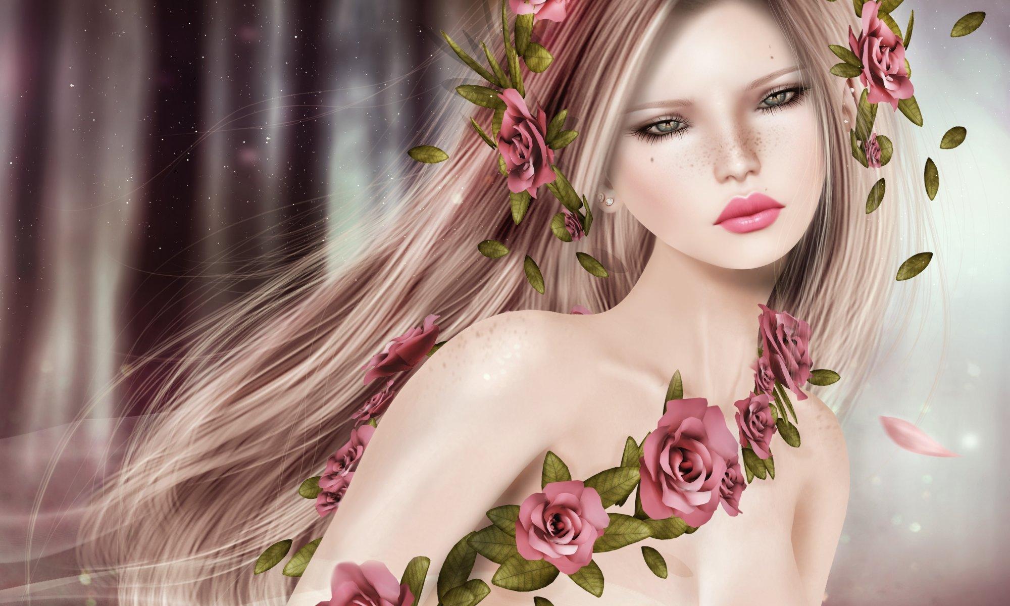 Открытка девушка цветы, открытки