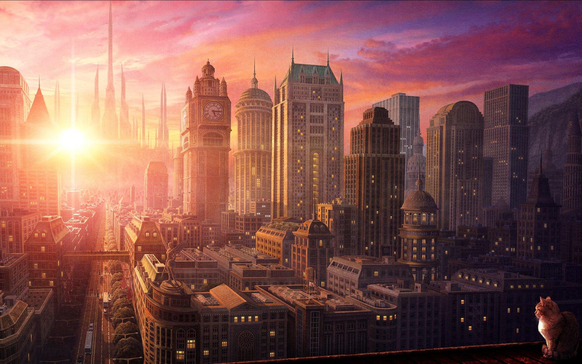 Аниме город обои