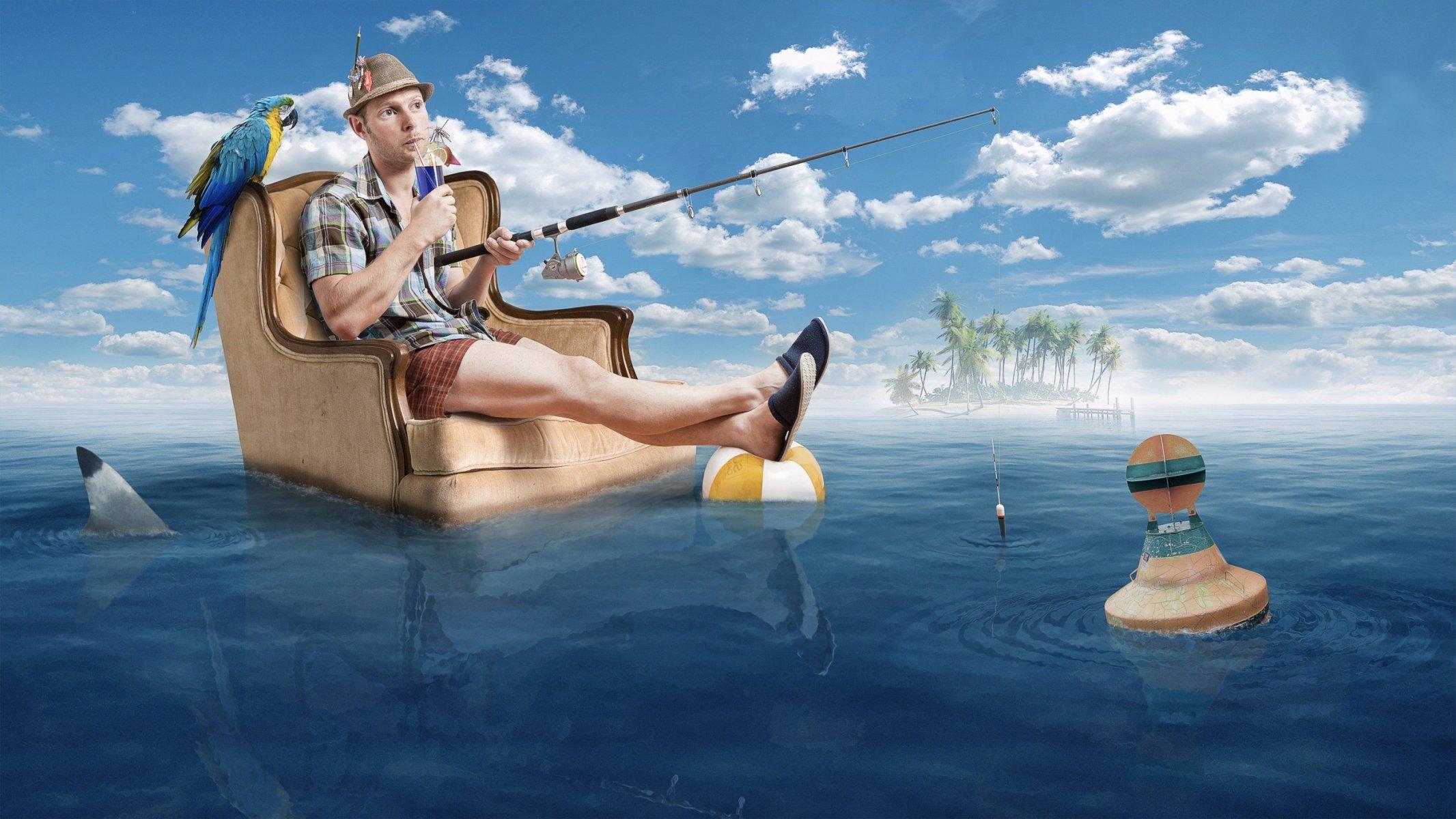 вначале смешная картинка рыбак на лодке вклад