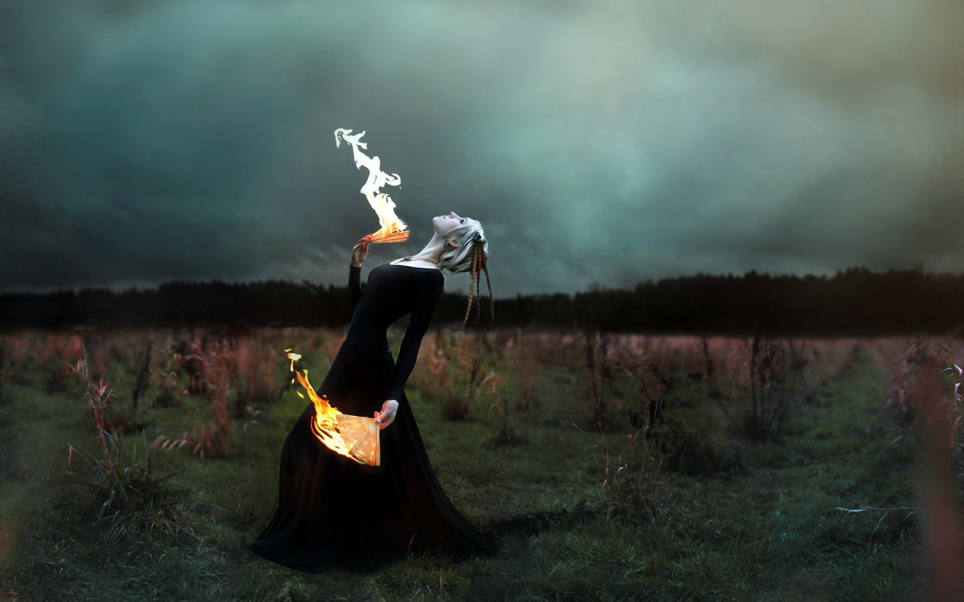 графика девушки костер дух природа graphics girls the fire spirit nature загрузить