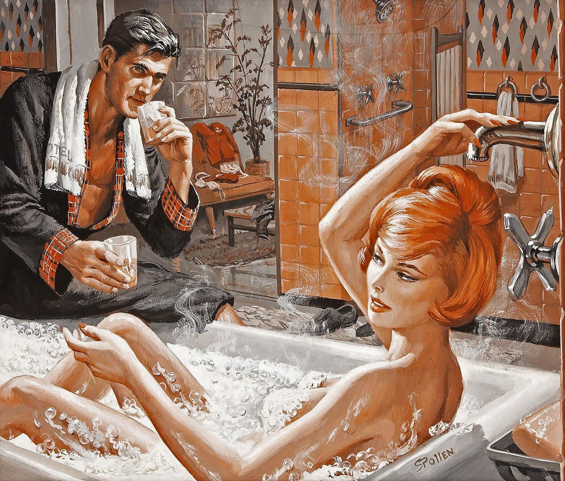 Муж и жена смешные в бане, две красотки лижут член фото