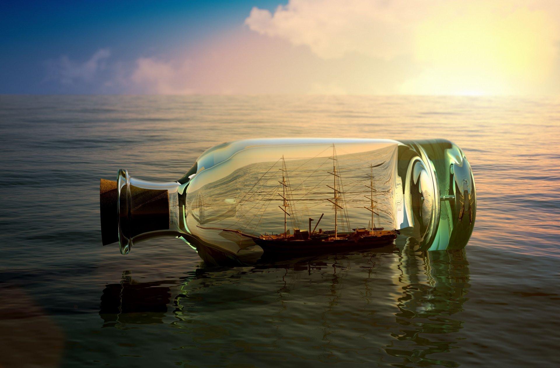 Обои лодка, бутылка, судно, настроения, Вода, корабль. Настроения foto 6