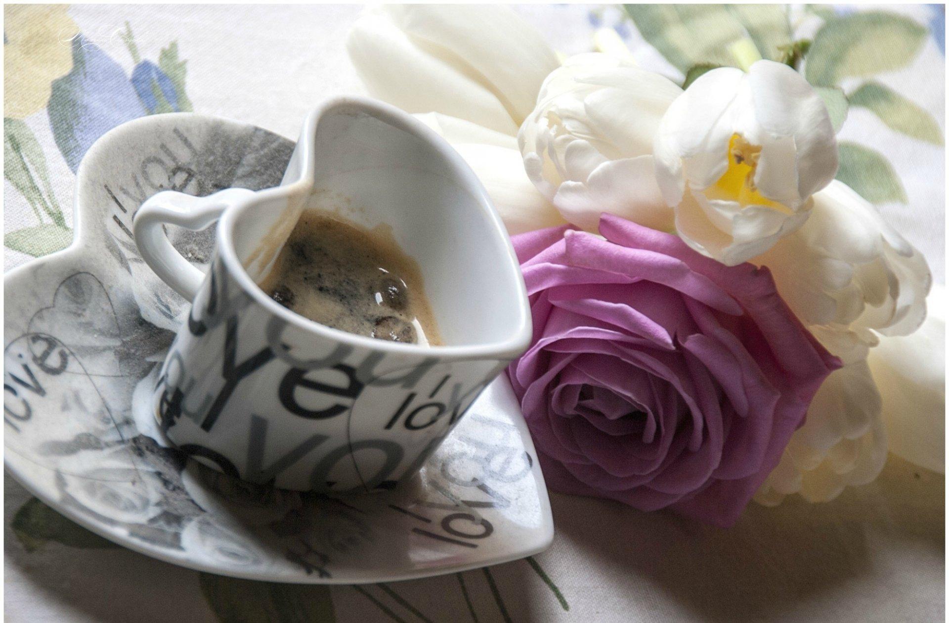 Открытки кофе и цветы с добрым утром, для