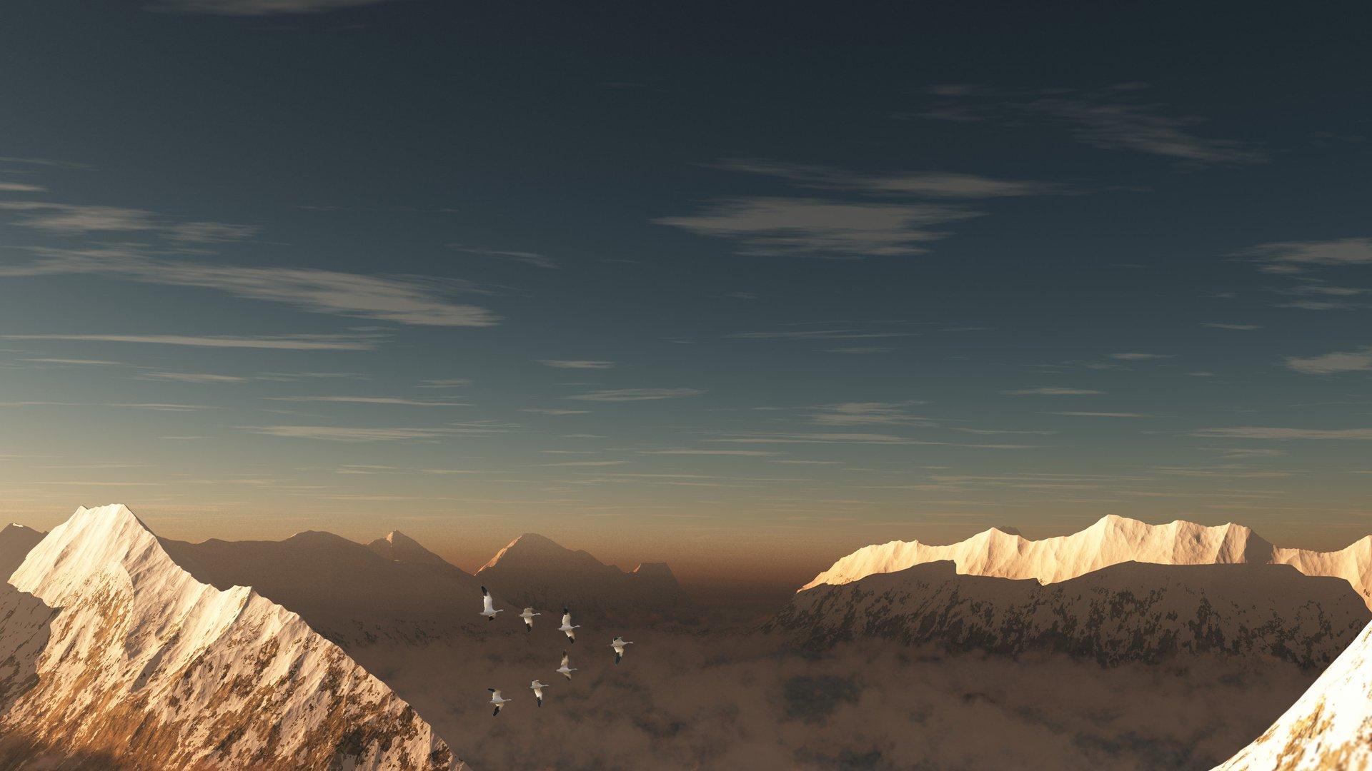 горы, небо, светило на телефон