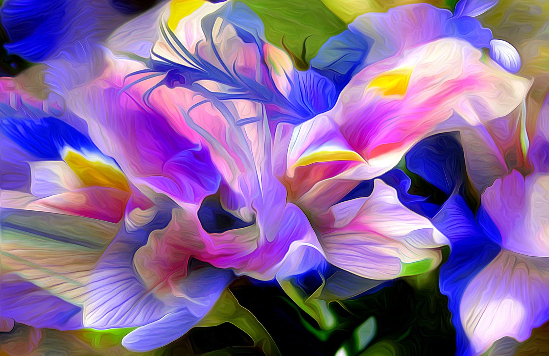 Цветы акварель абстракция
