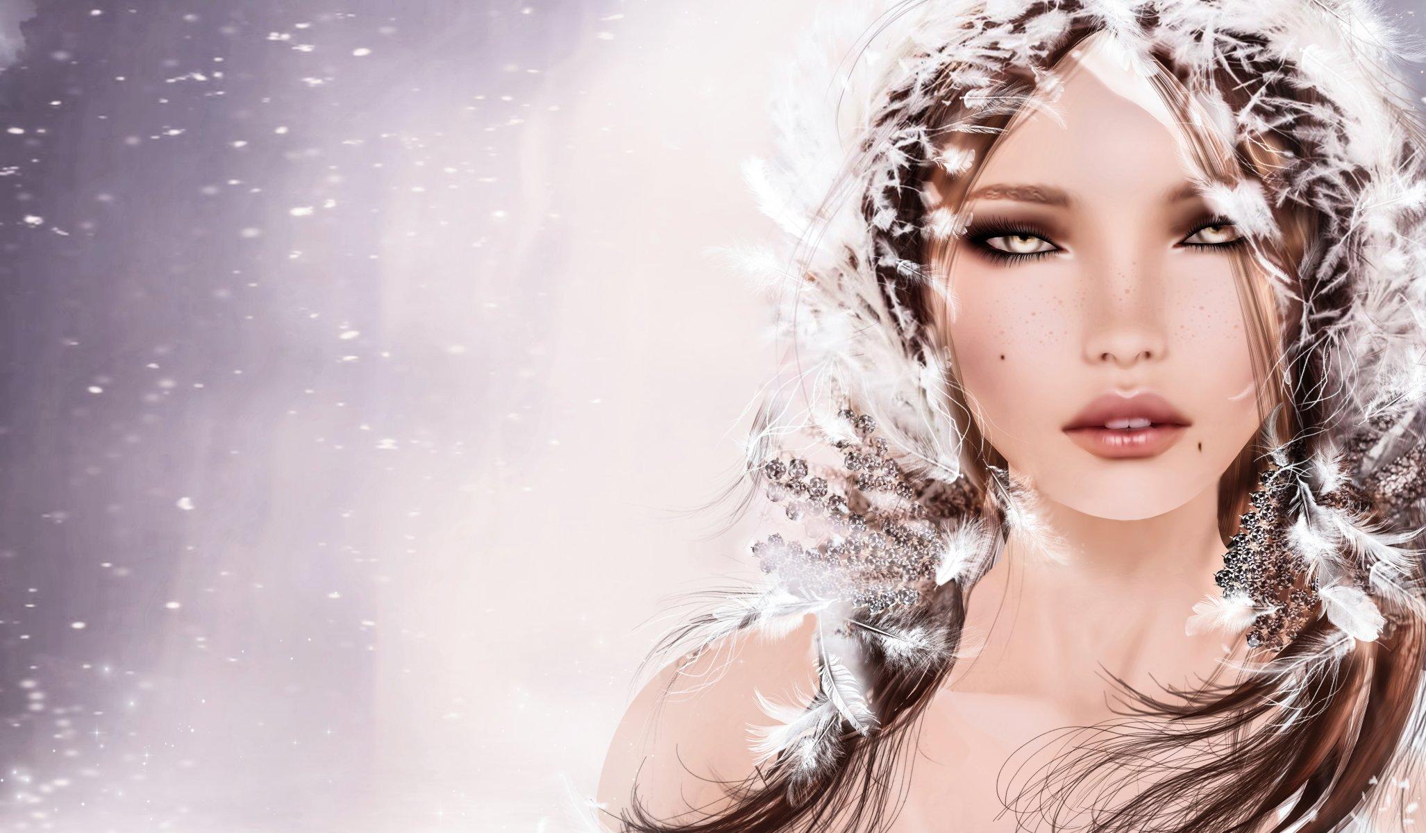 Картинки девушка зима красивые нарисованные