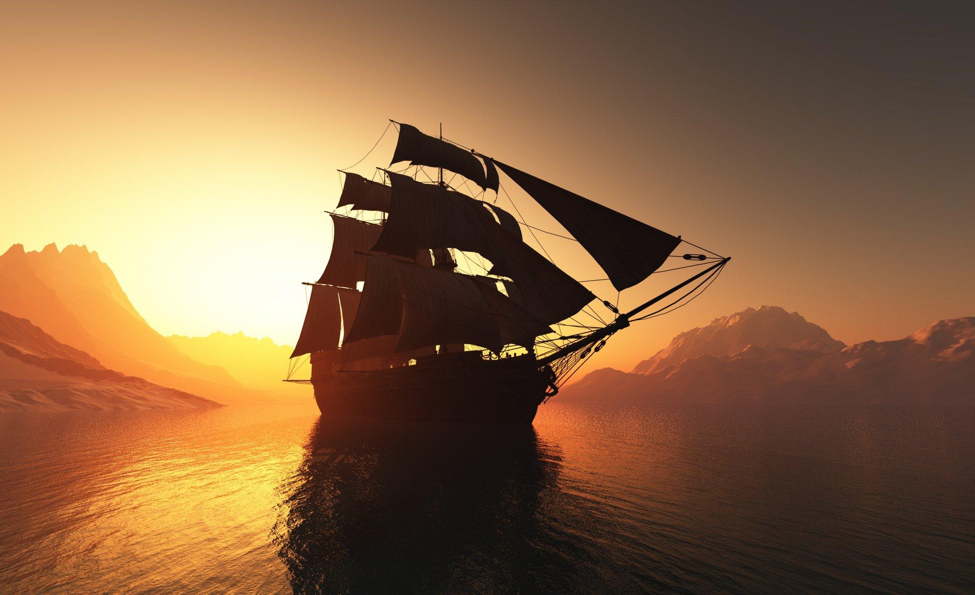корабли на закате  № 3504103 бесплатно