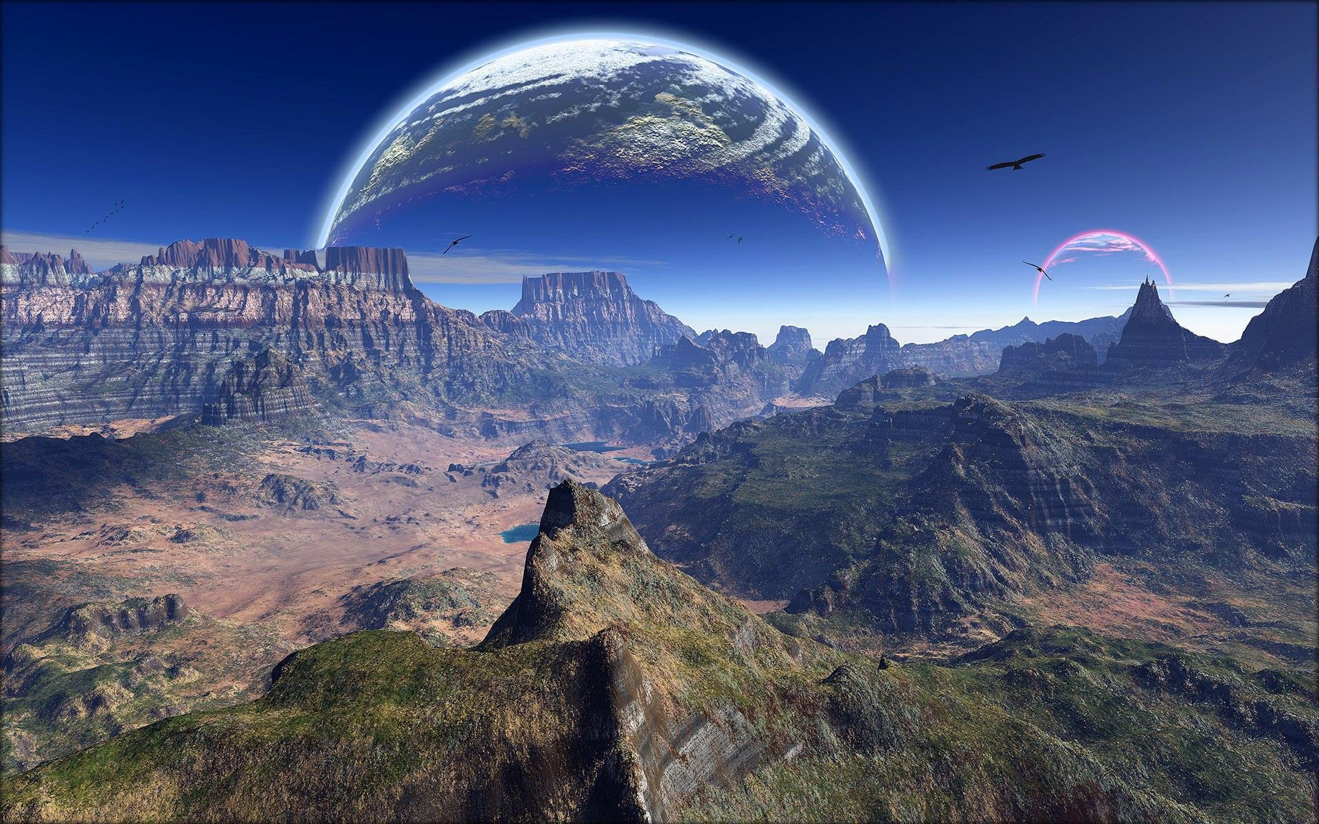Планеты над горами  № 1164005 загрузить