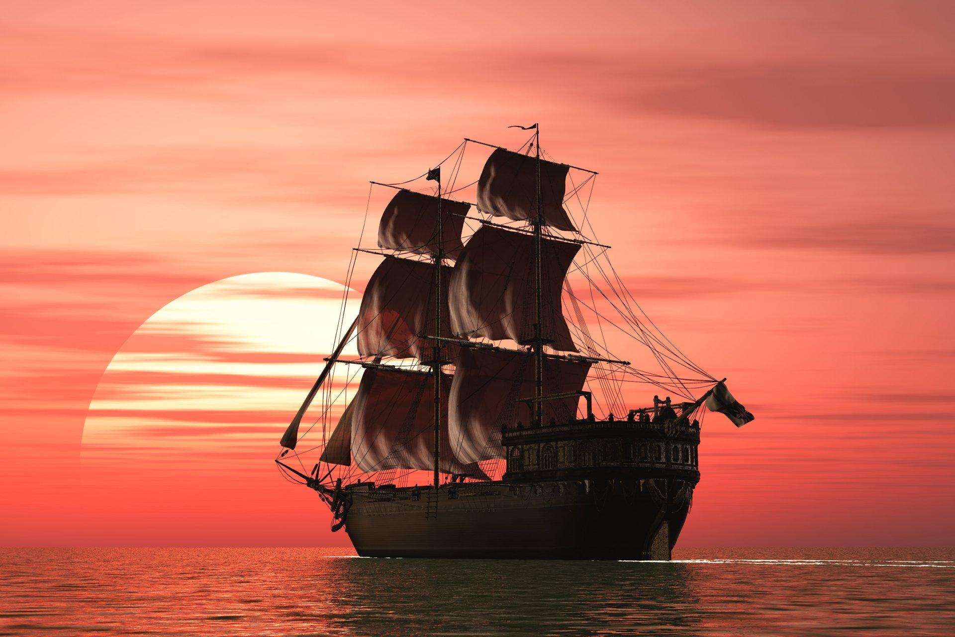 корабли на закате  № 3504035 без смс