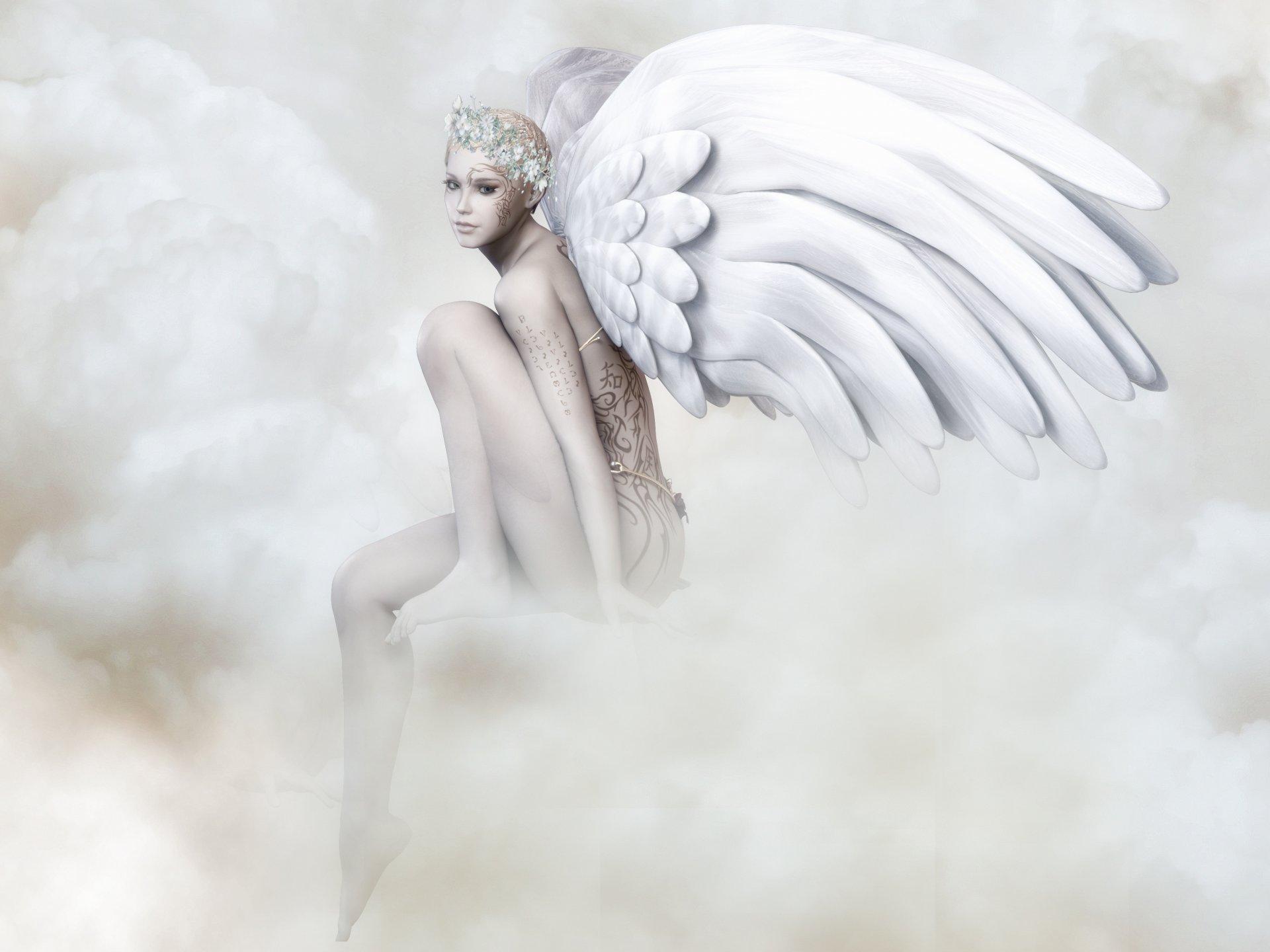Открытка девушки с крыльями