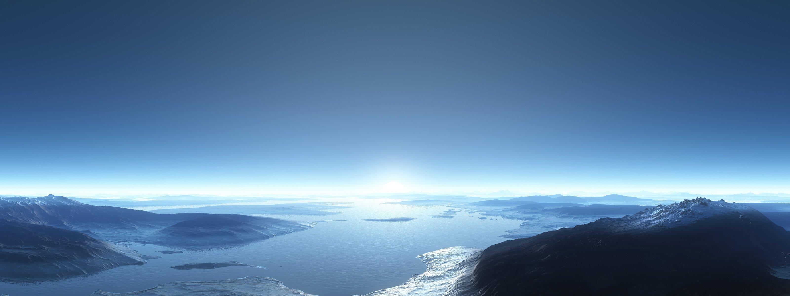 облака лучи горы вода бесплатно