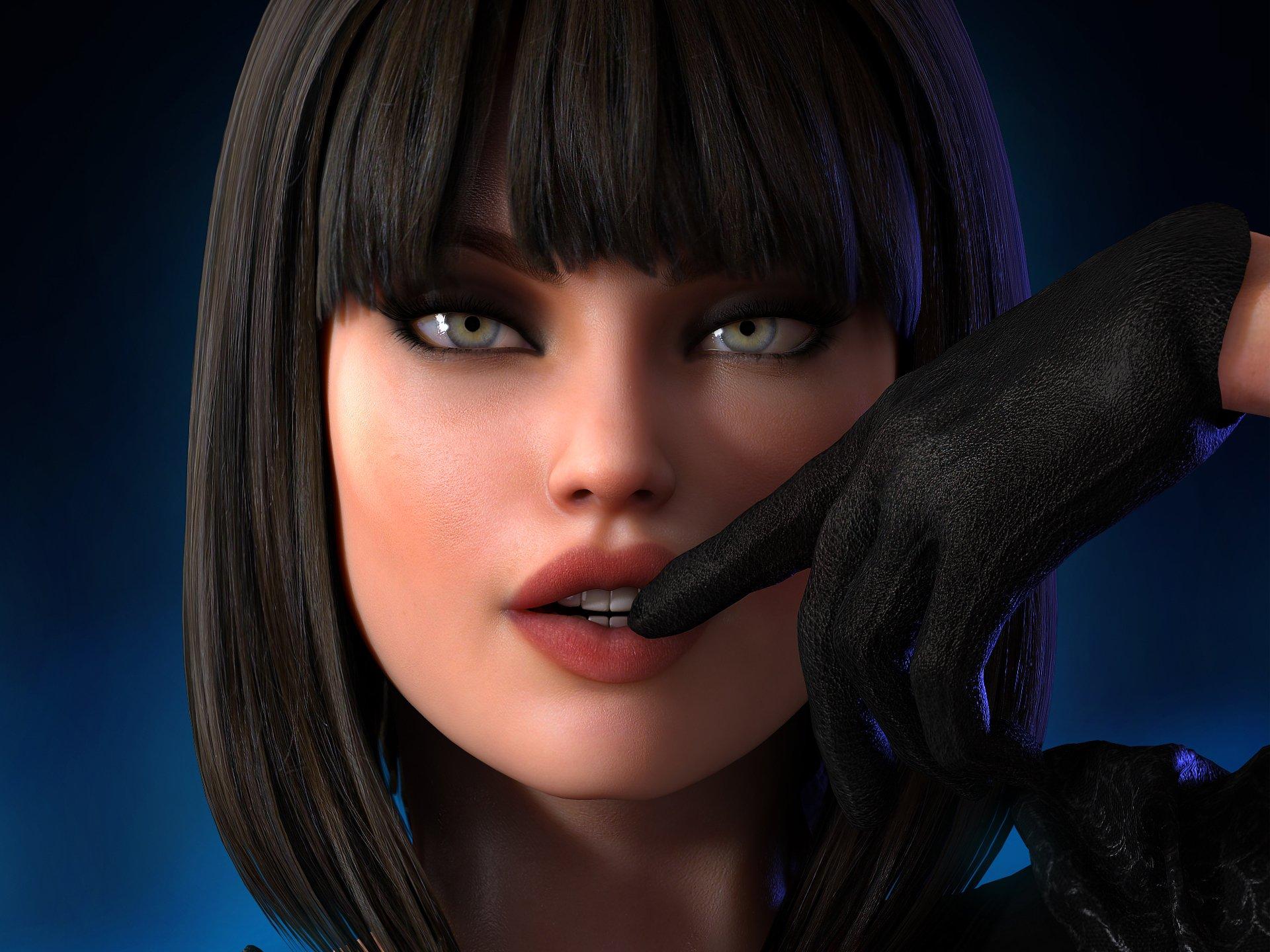 Девушка с челкой арт