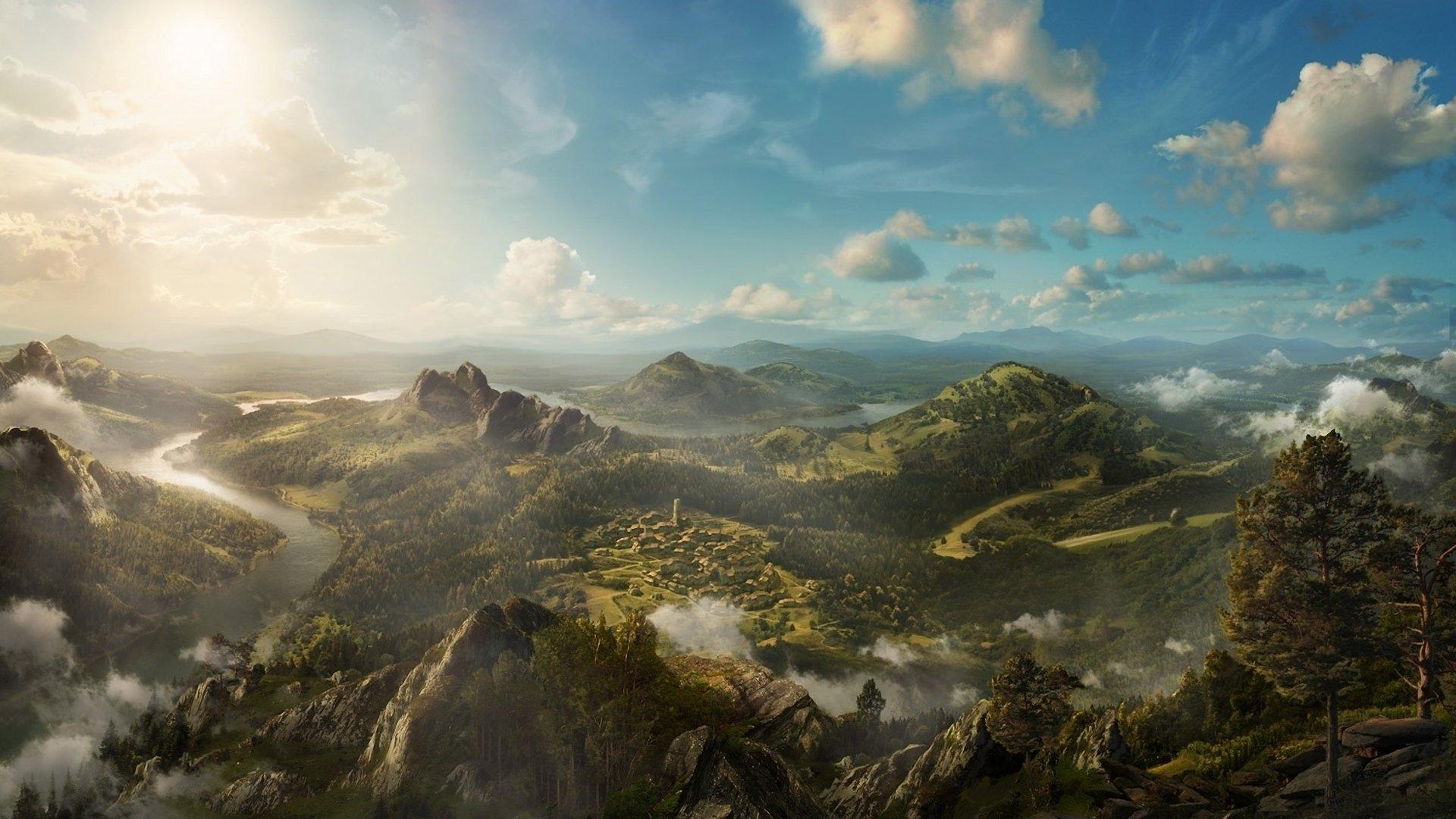 природа река горы скалы деревья облака  № 3796723 без смс