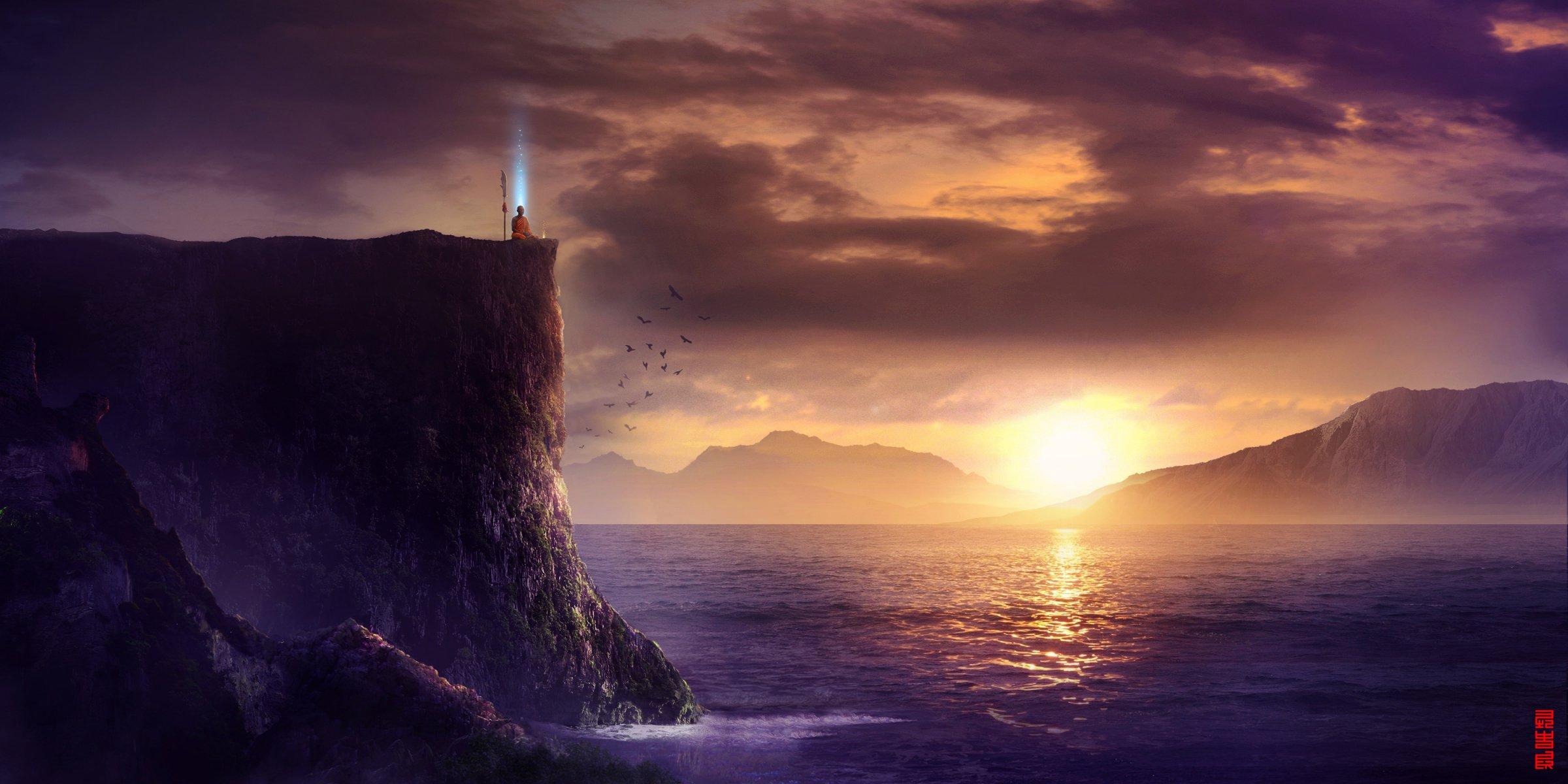 закат море горы скалы  № 1291196 бесплатно