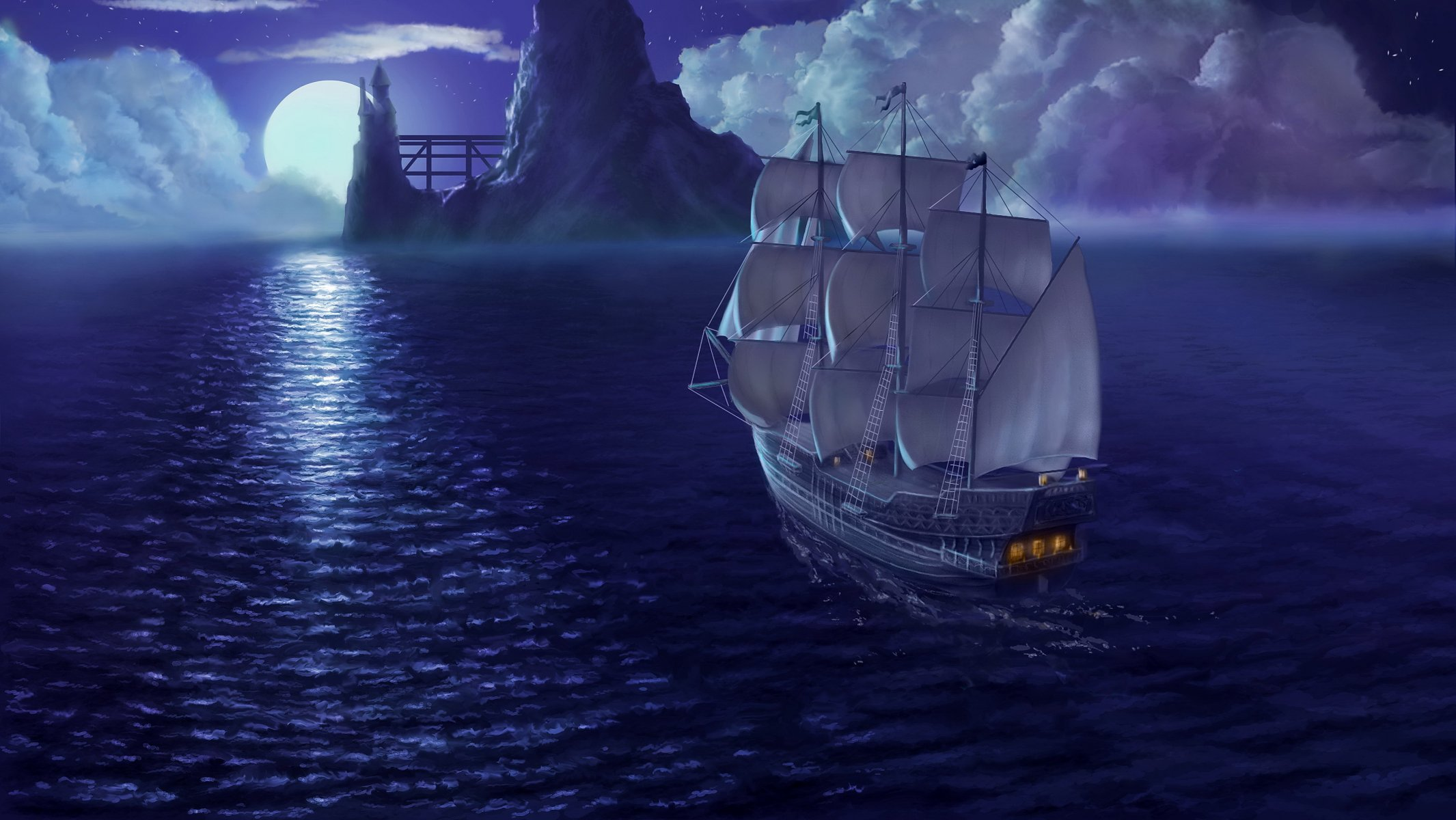 Днем, анимация картинки корабль