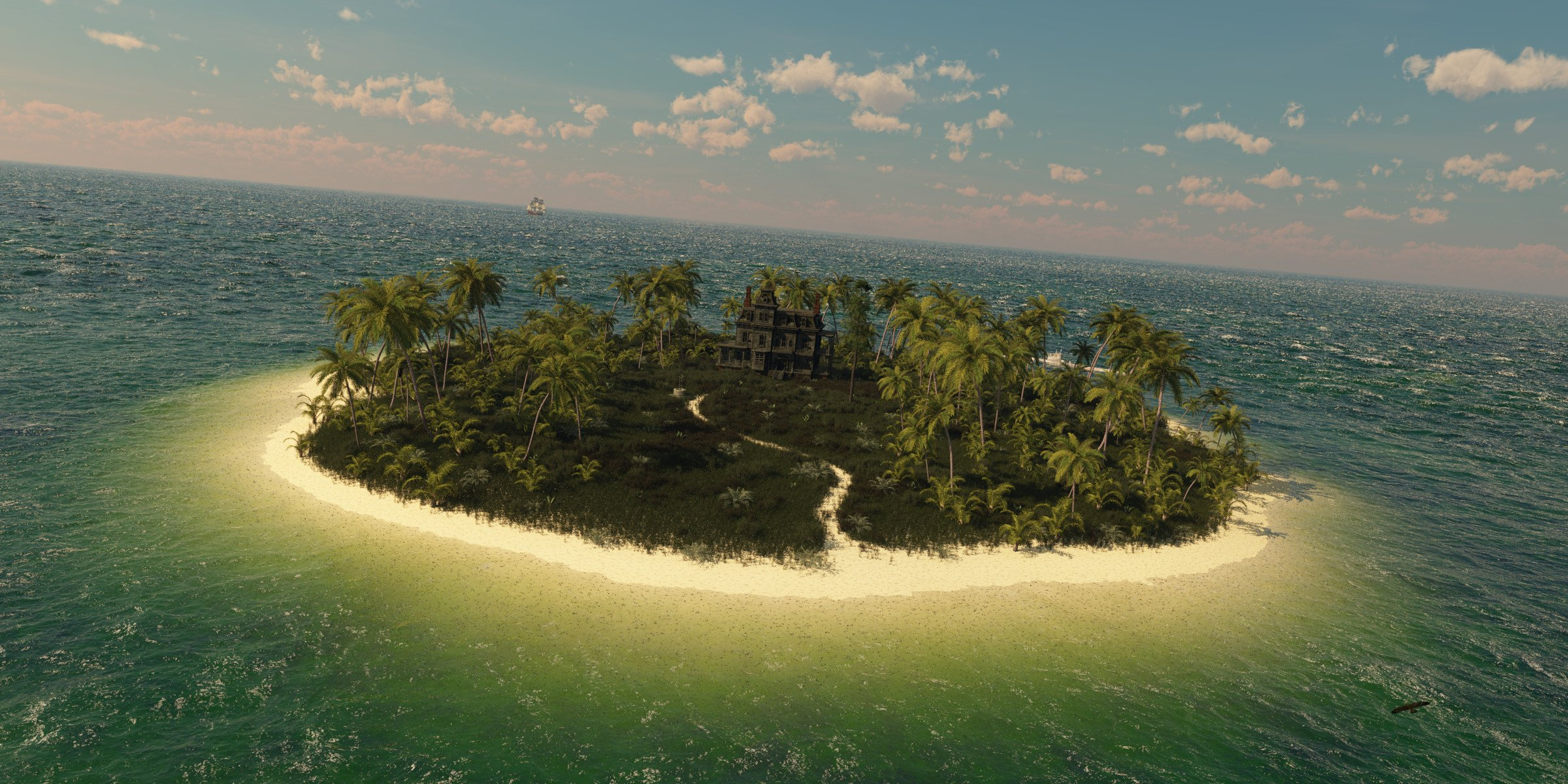 маленькие острова среди гор  № 253208 бесплатно