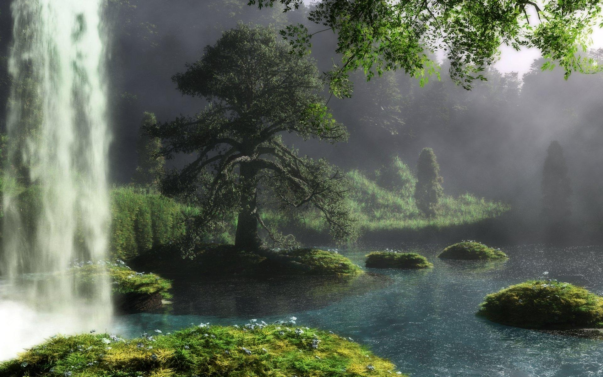 природа водопад река деревья загрузить