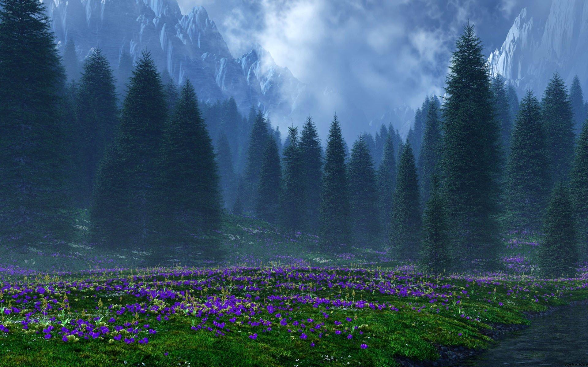 горы, ели, цветочная поляна  № 3586928 бесплатно
