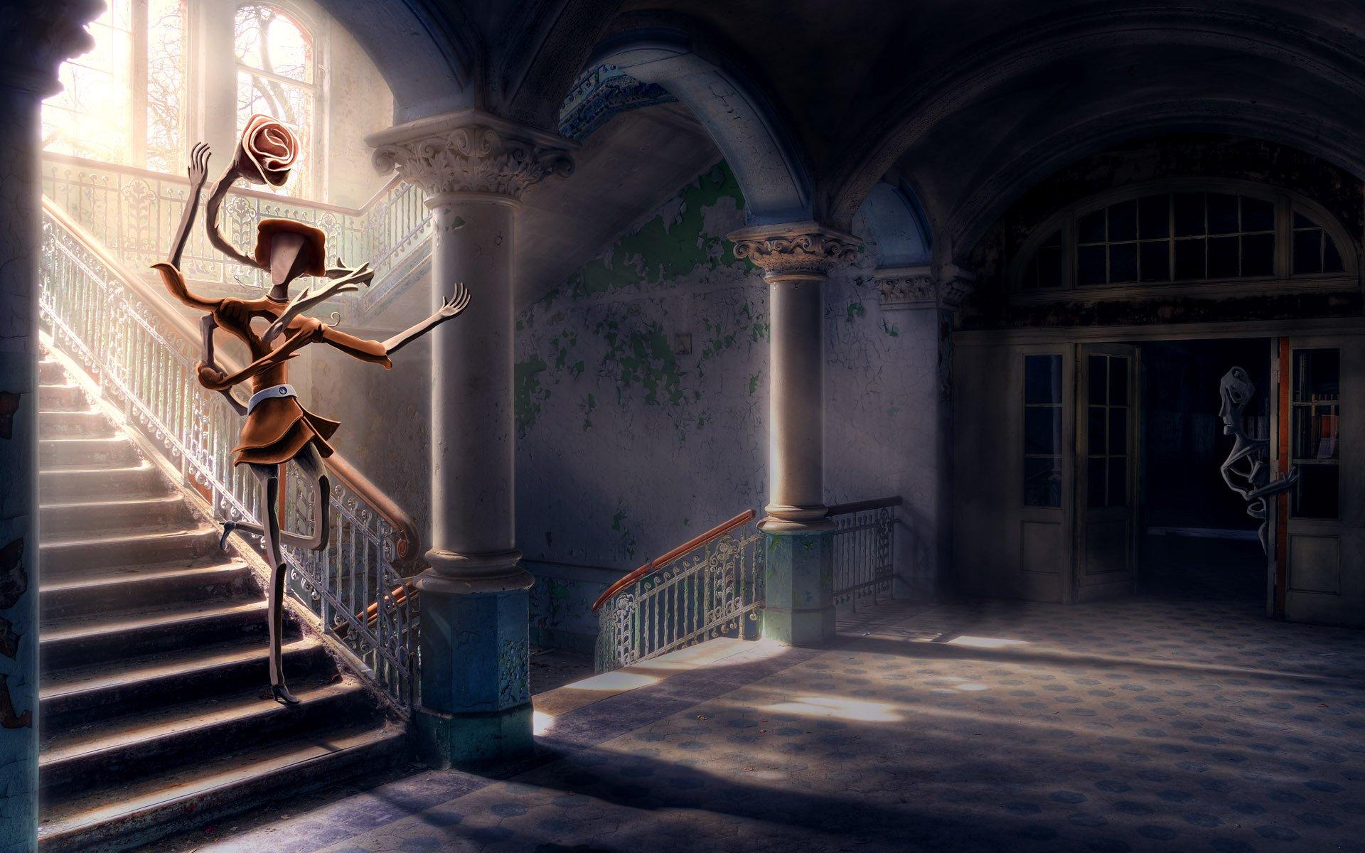 девочка платье свет лестница скачать