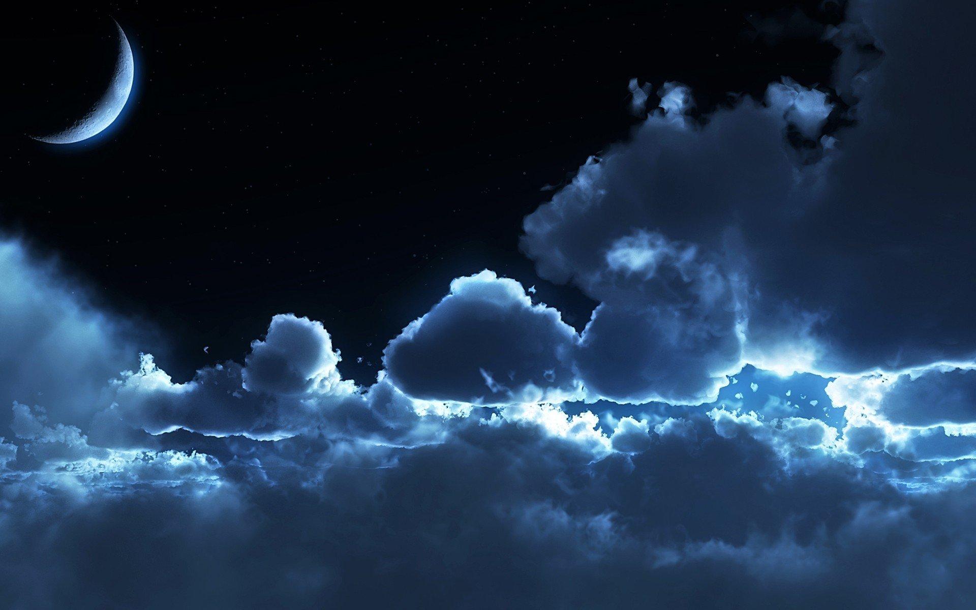 Обои для рабочего стола ночь луна облака
