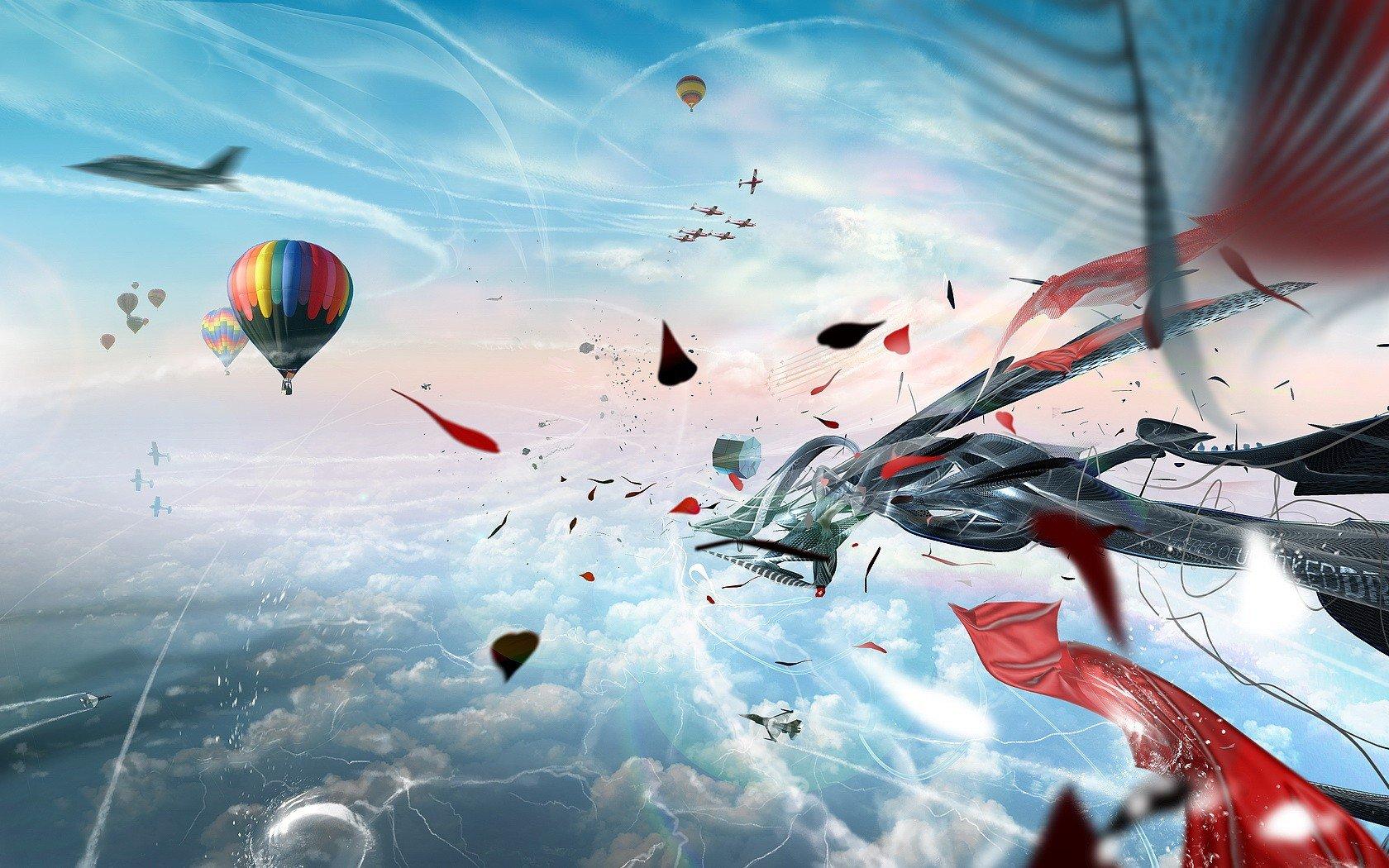 Обои воздушные шары, Облака, аэростаты, Монгольфьеры. Авиация foto 14