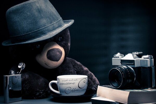 teddy bear books camera hat journalist cappuccino coffee table fantasy bear photographer nostalgic nostalgia location thoughtful blue background