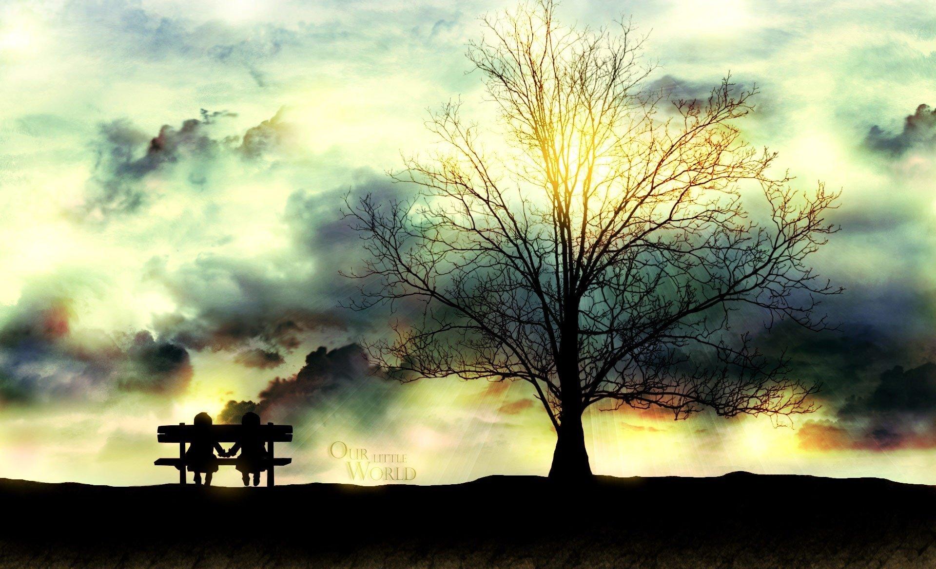 дерево скамейка закат трава без смс