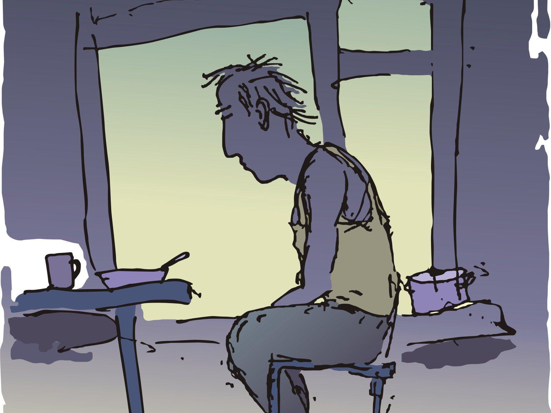 Рисунок скучающего человека, люблю