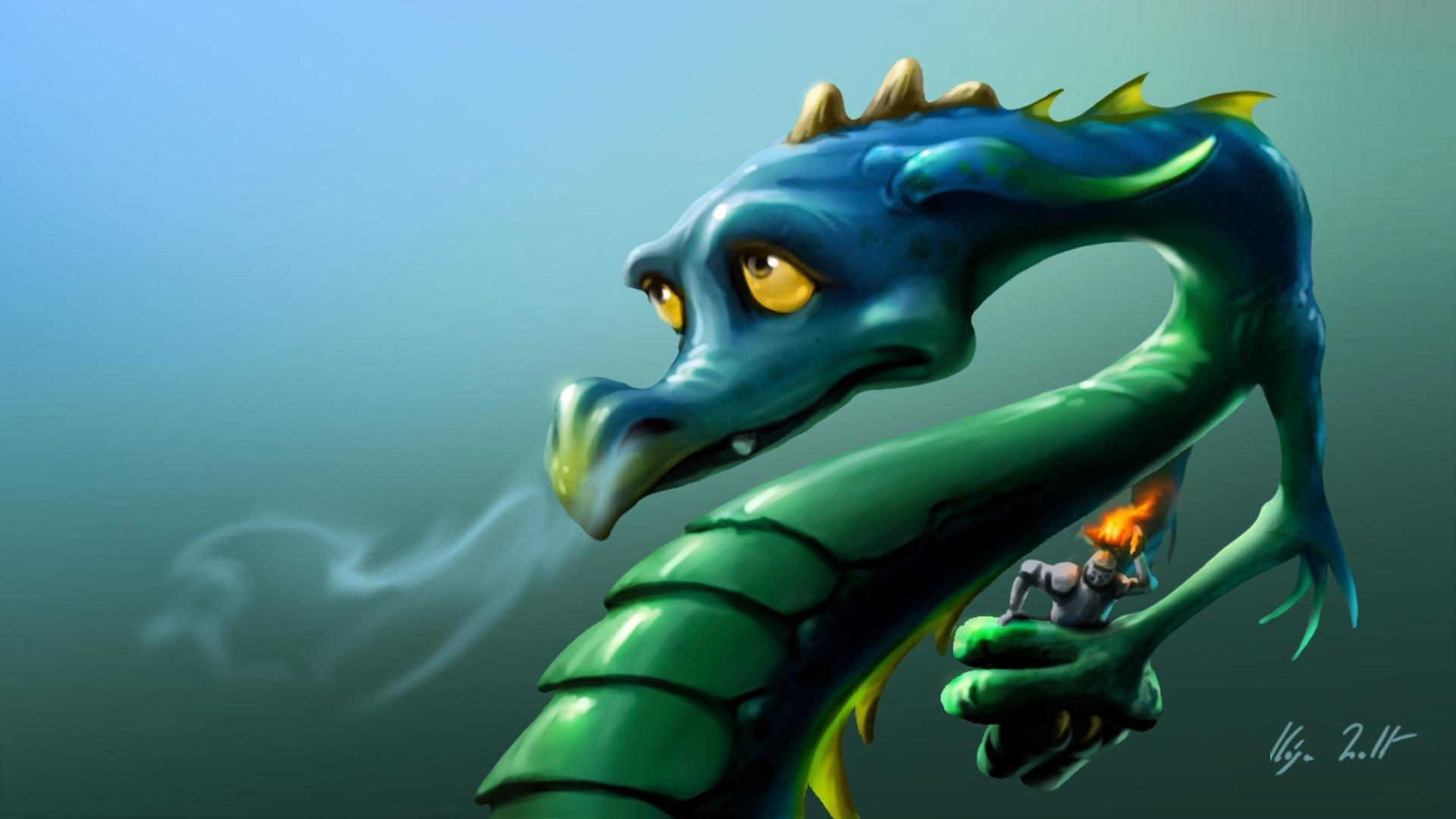 Нарисованый фэнтезийный зеленый дракон  № 3349244 загрузить