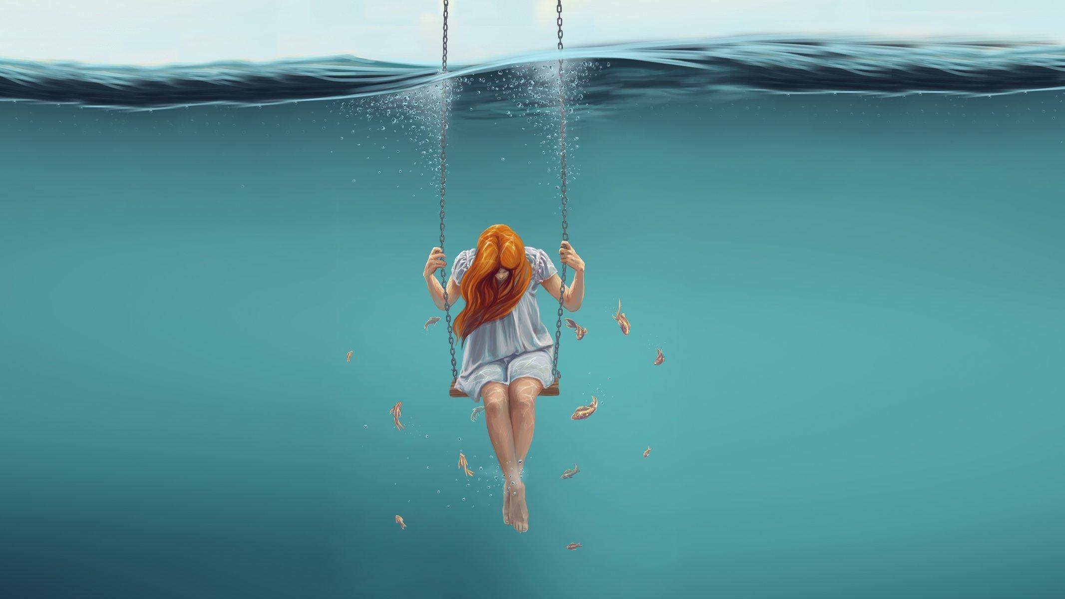 Девушка под водой на аву