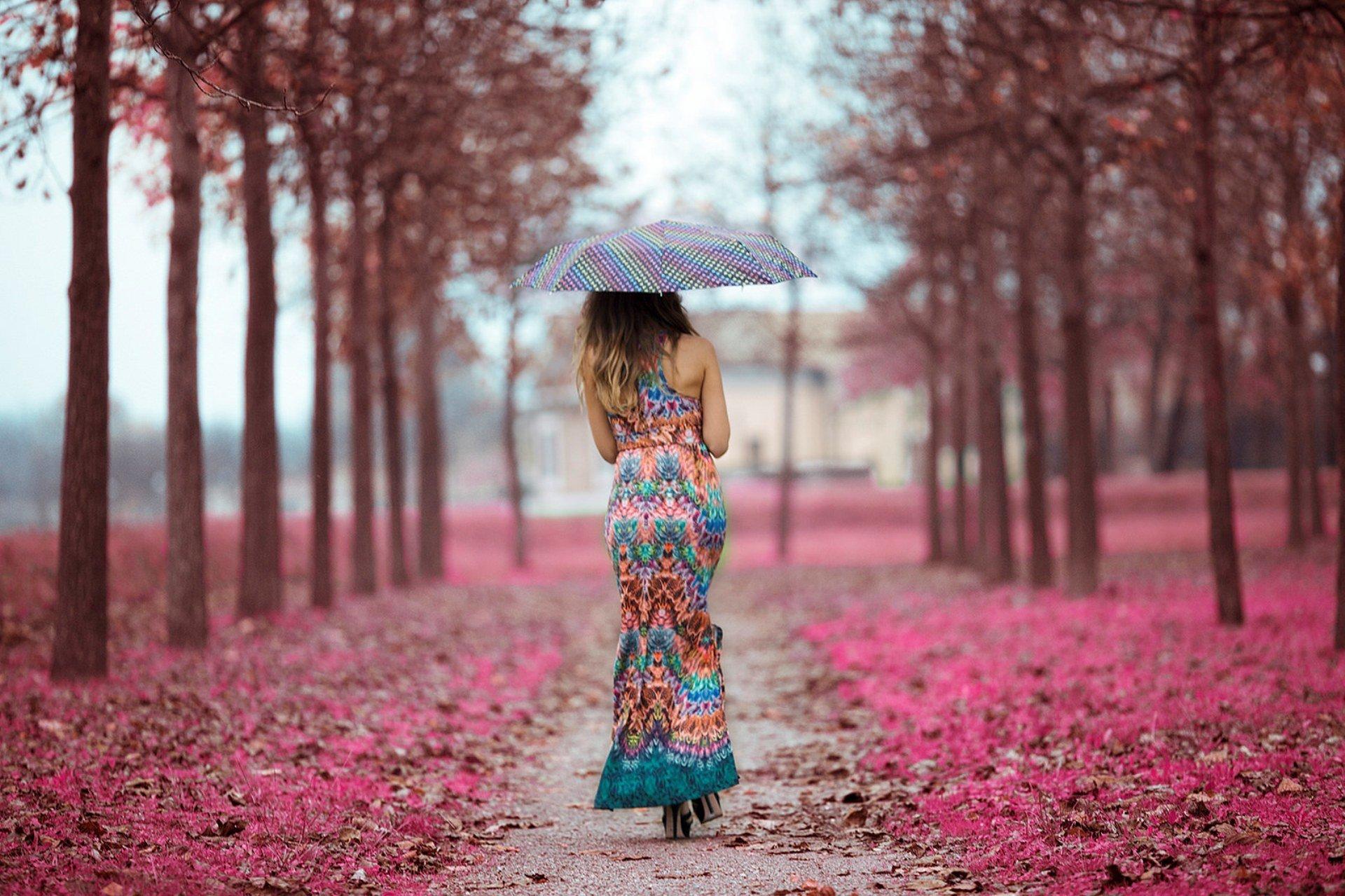 девушка зонт дождь природа  № 3582359  скачать