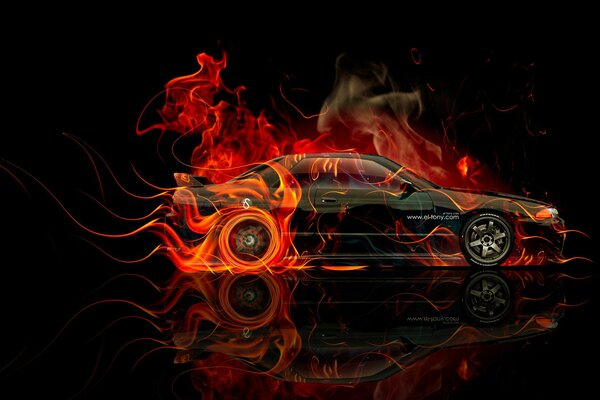 Tony Kokhan Nissan Skyline GTR R32 Fire Orange Black Side JDM el Tony Cars Photoshop HD Wallpapers Art Design Тони Кохан Фотошоп Ниссан Скайлайн ГТР Р32 Огненная Машина Огненный Автомобиль Вид Сбоку Ч