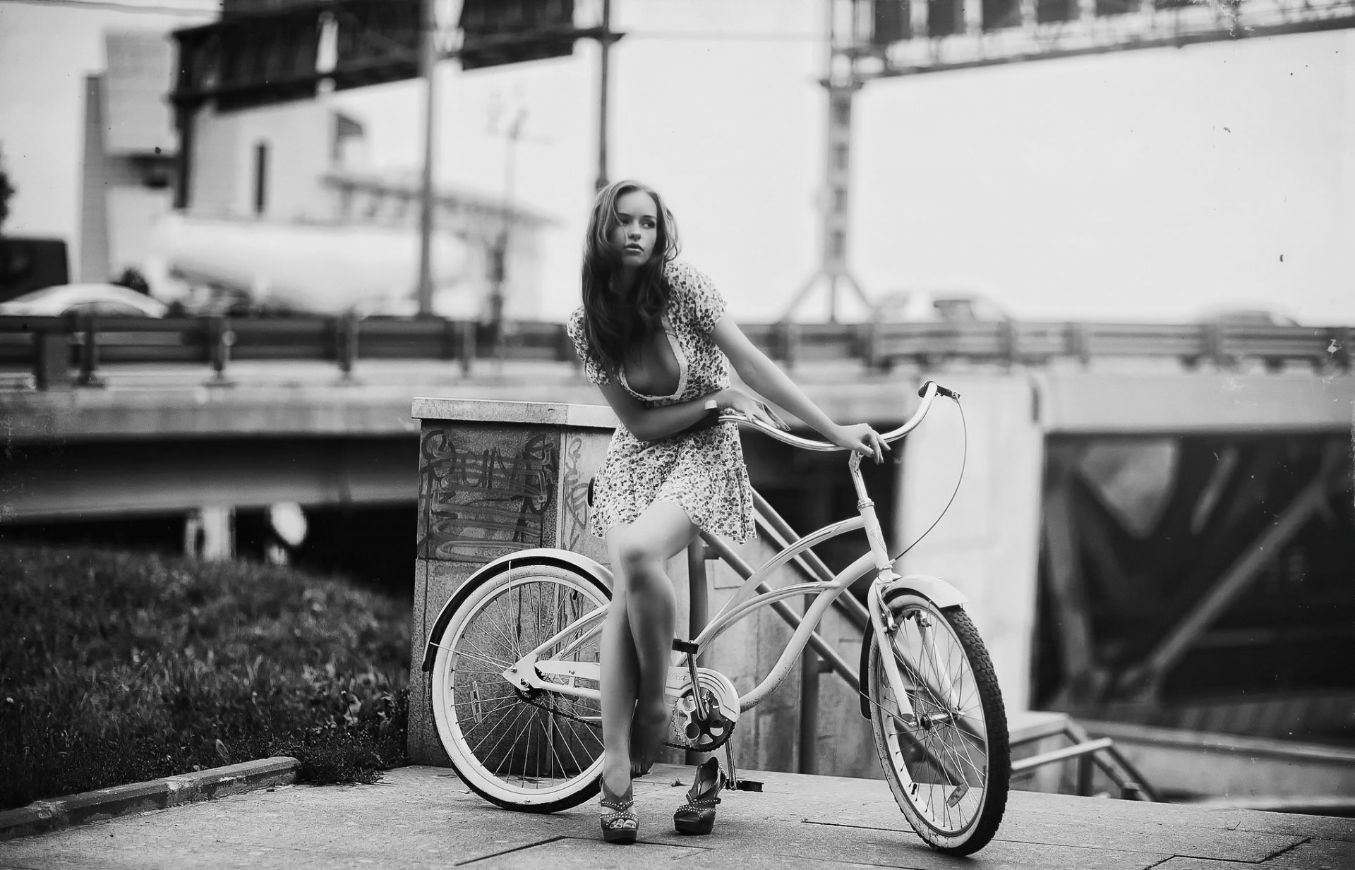 Велосипед Девушка Обои