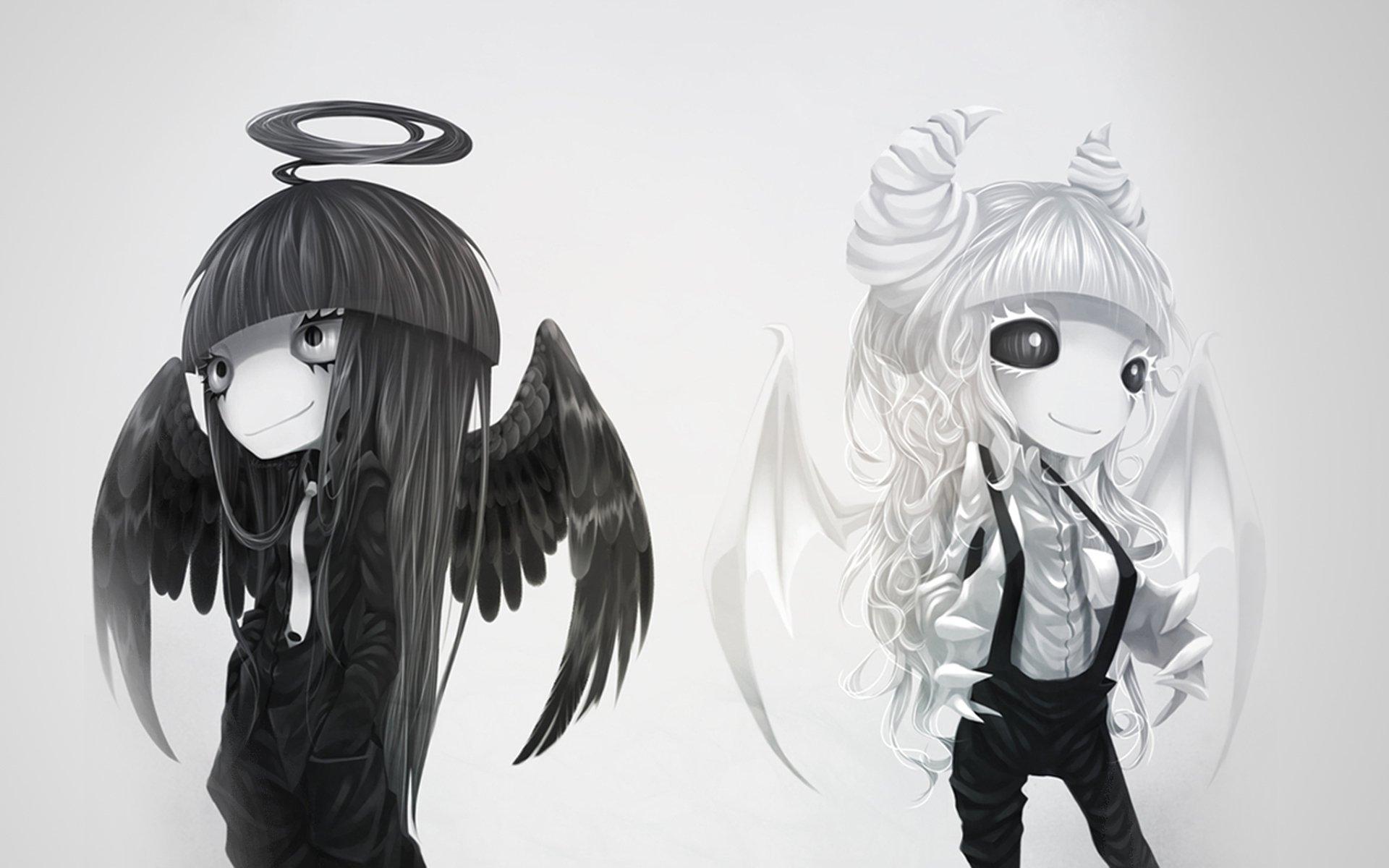 Девушки ангел и демон рисованные