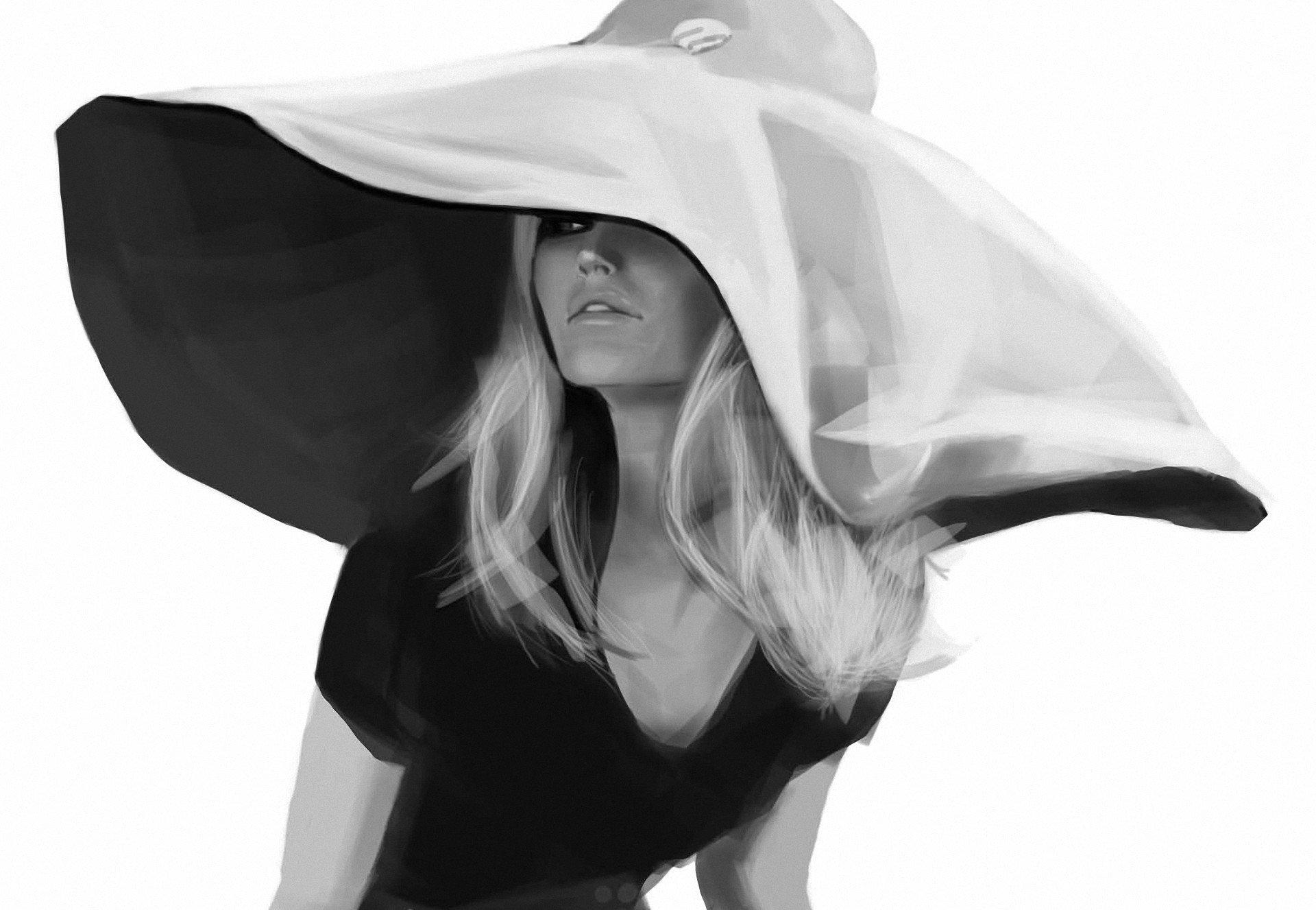 Девушка в шляпе картинки черно белые, веселый апельсин