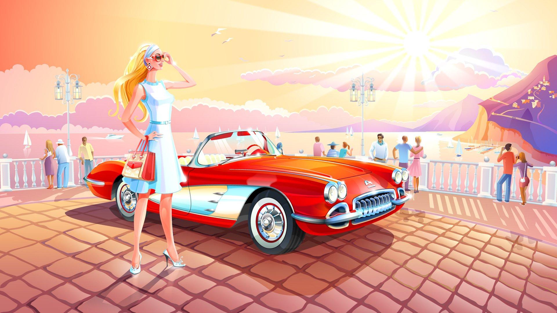 Шашлыки смешные, девушка на машине открытка