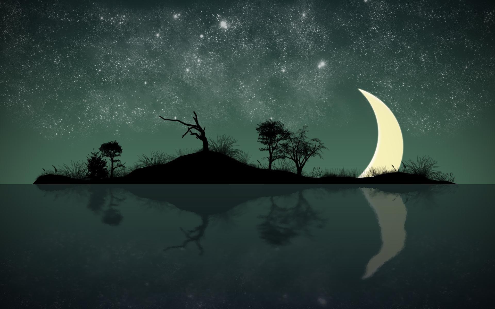 Обои рисунок, Вода, лодки, ночь, свет. Разное foto 15