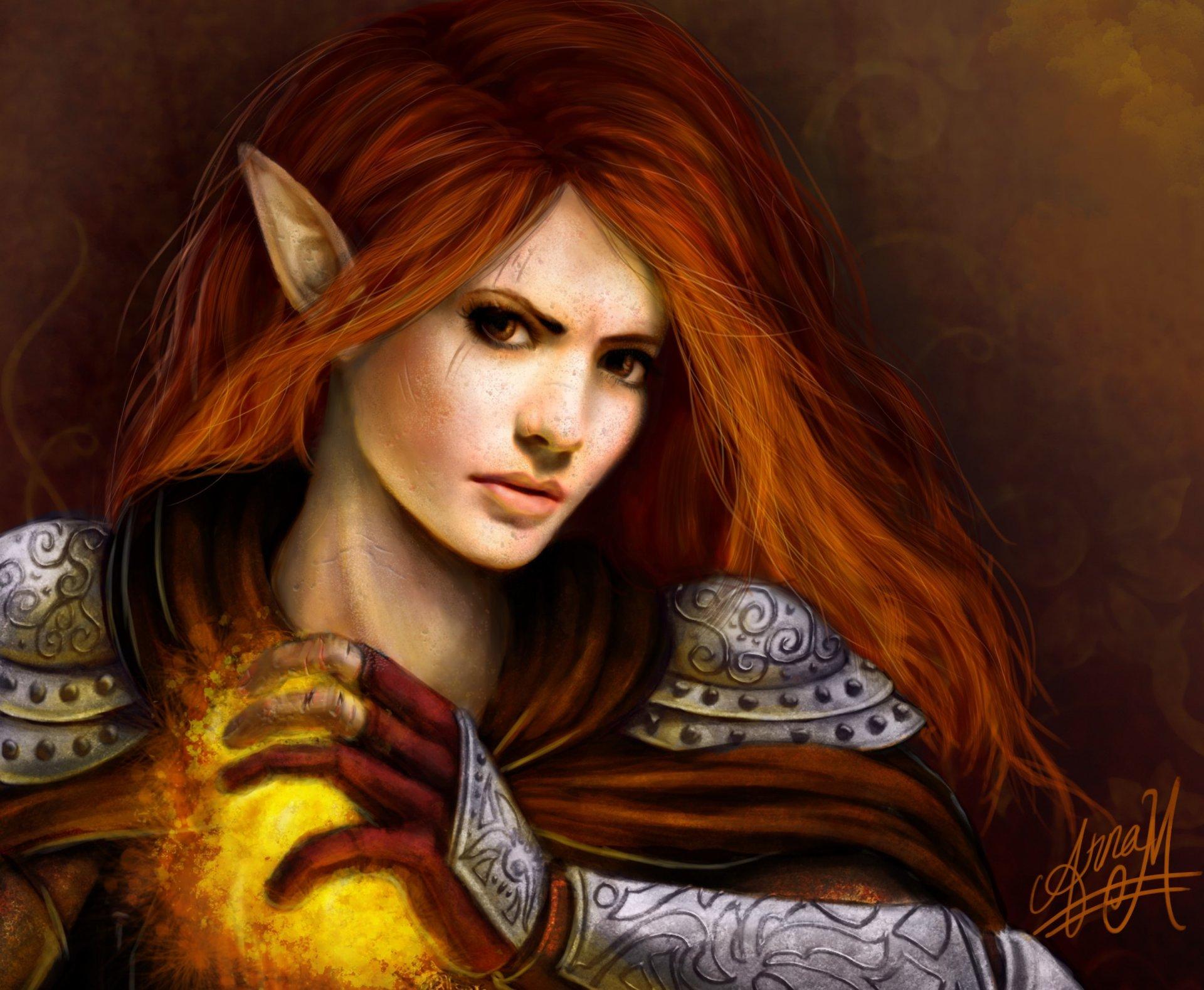 Redheaded elf girl art sexy tube