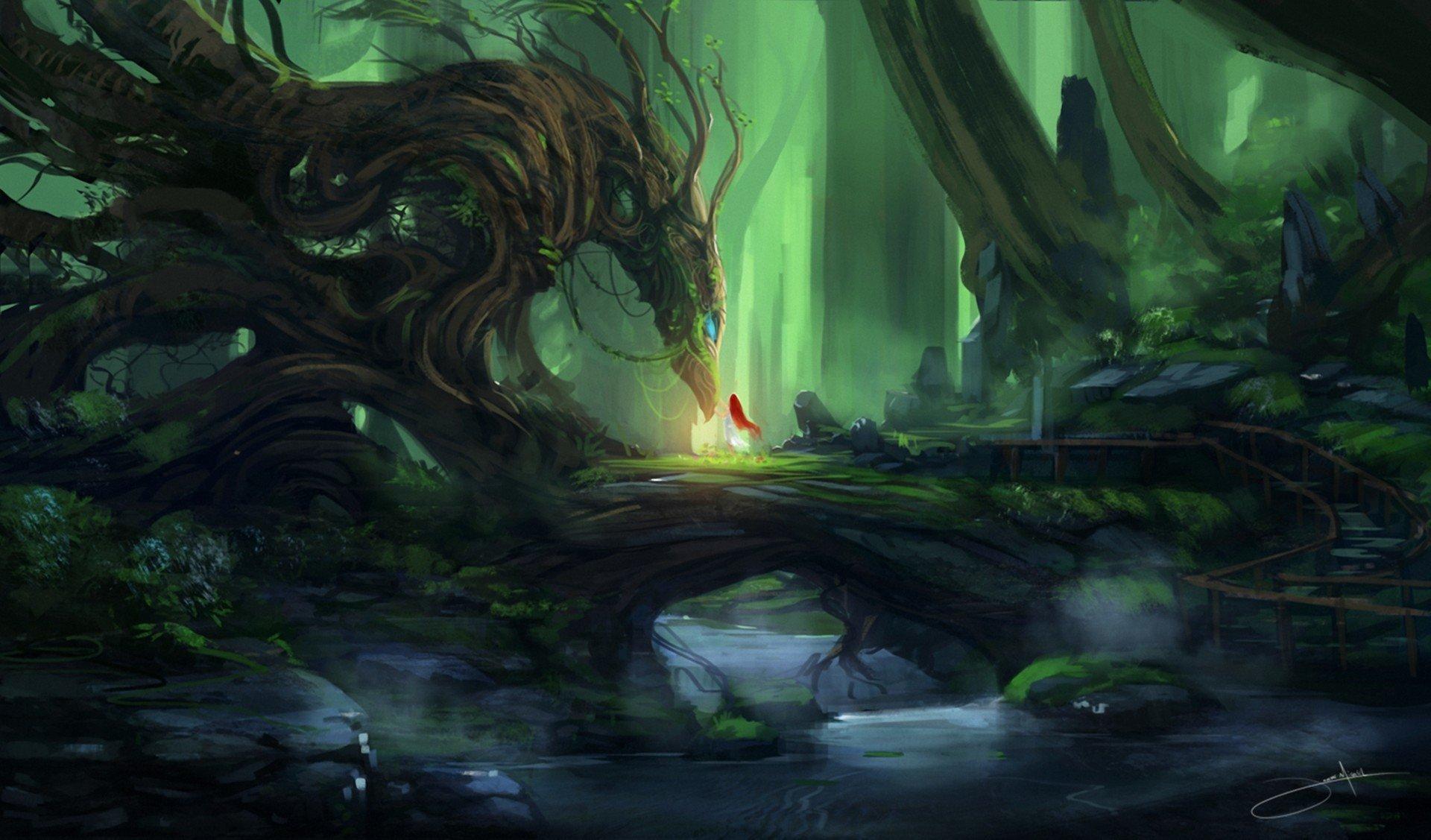 Нарисованый фэнтезийный зеленый дракон  № 3349206  скачать